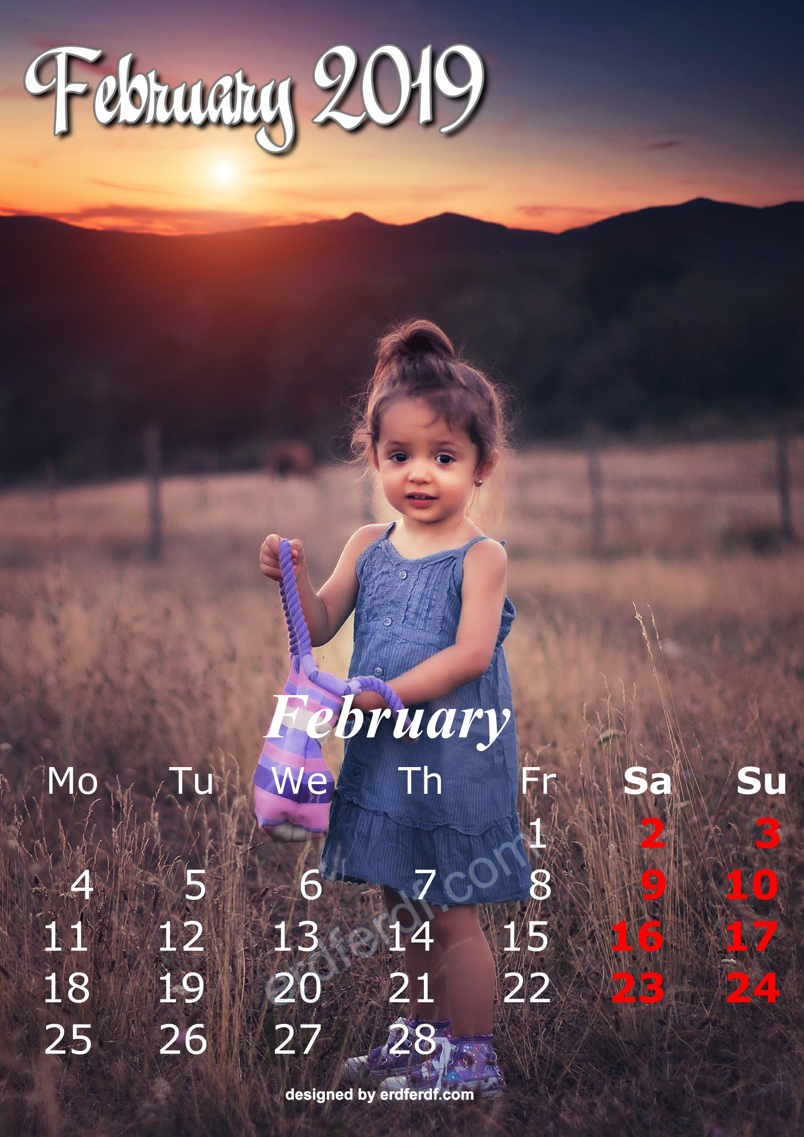 2 February Cute Kids Calendar 2019 Printable Free Design