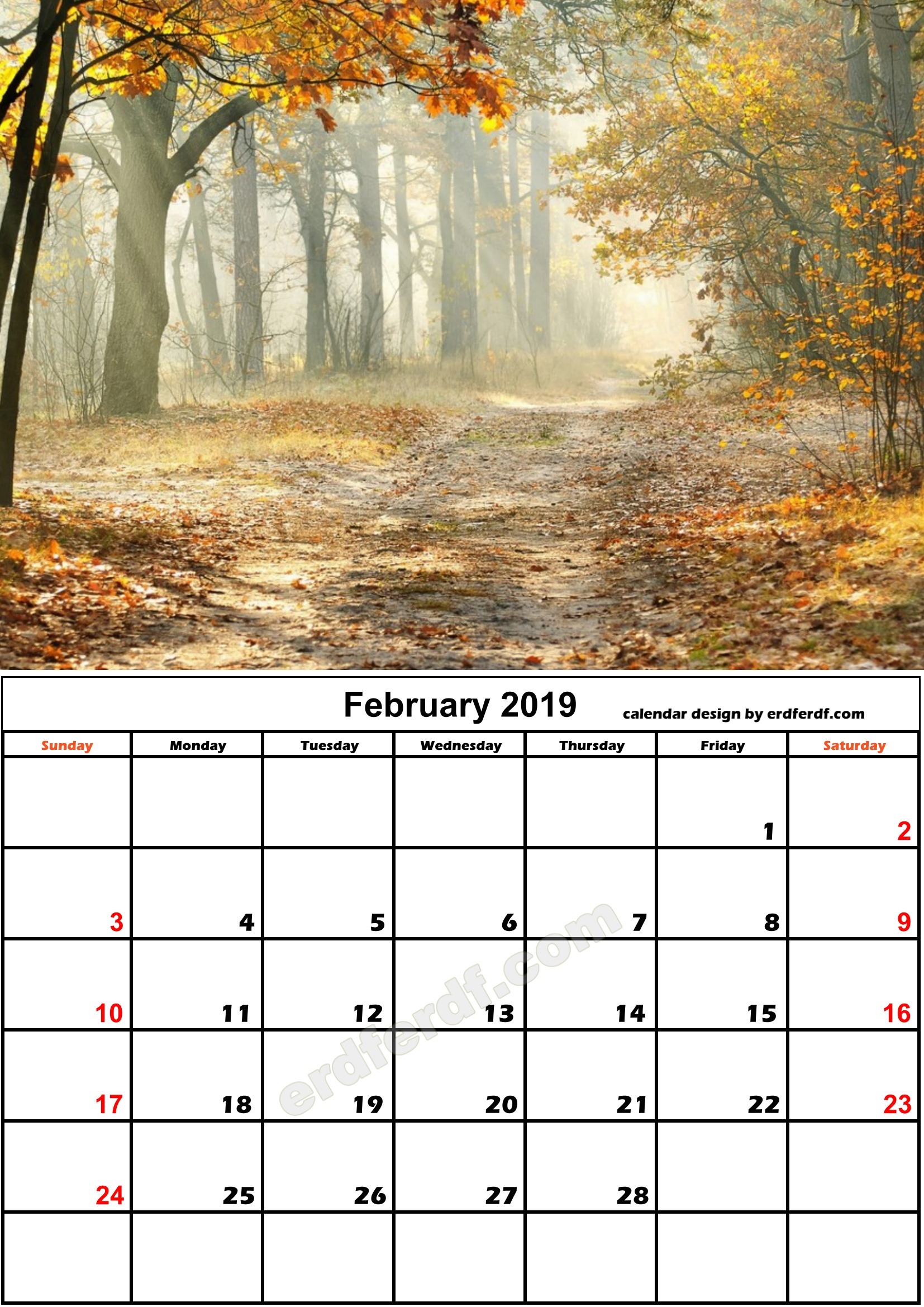2 February Nature Calendar Monthly 2019 Free Download