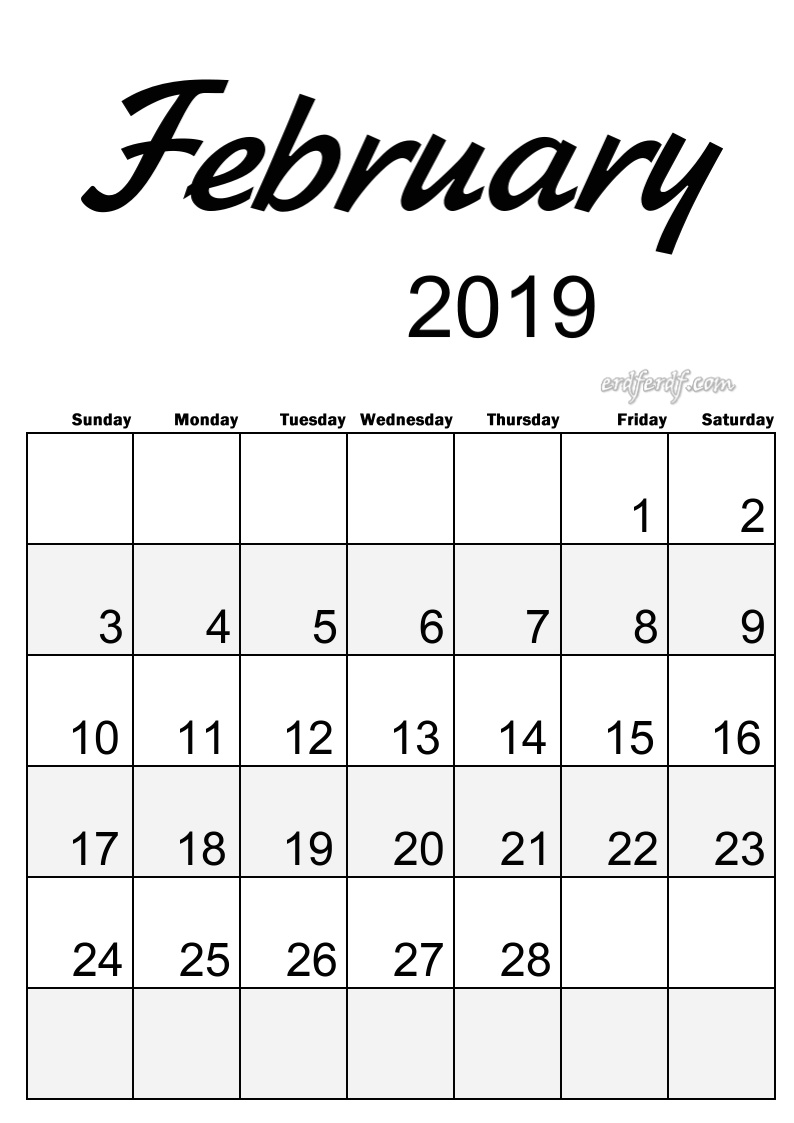 2 February Simple Elegance Calendar 2019 Beautiful Typography