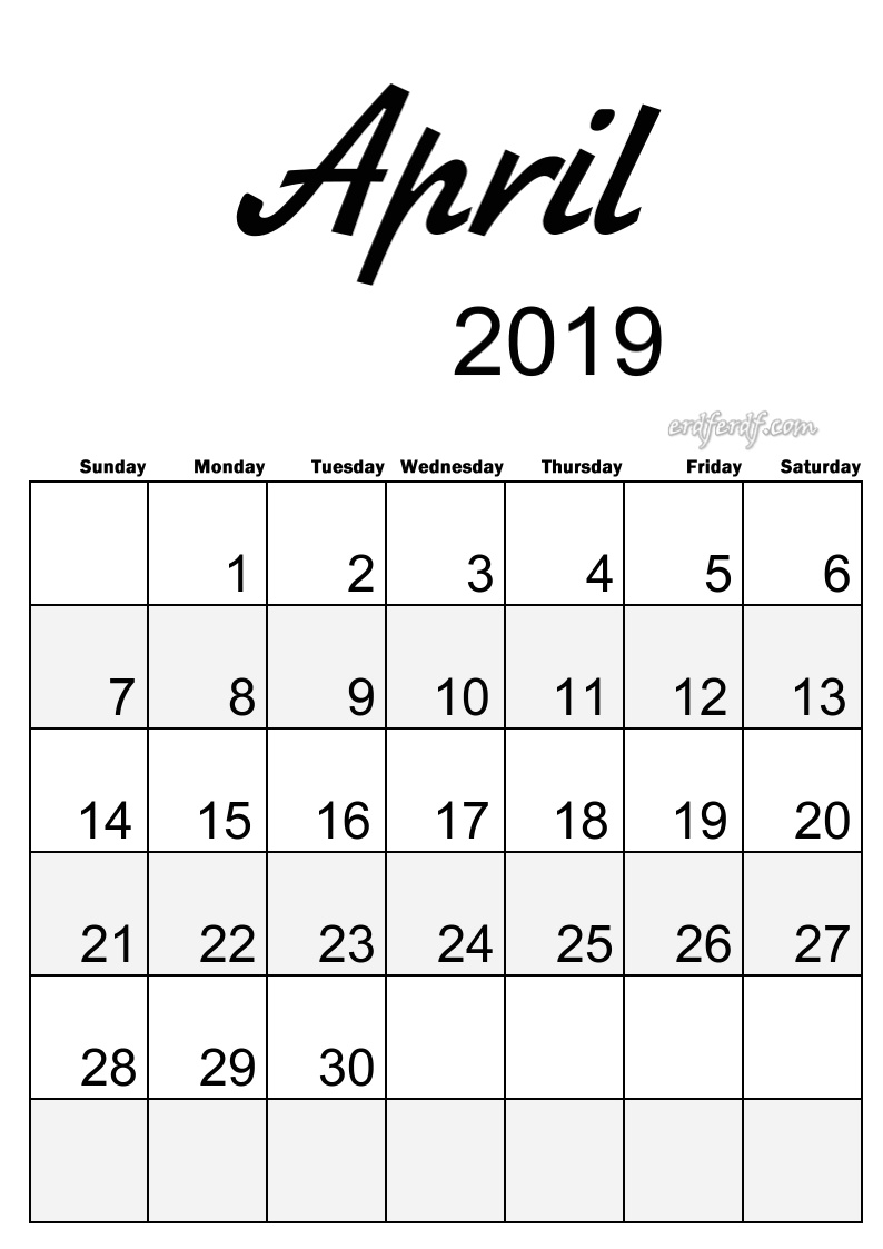 3 April Simple Elegance Calendar 2019 Beautiful Typography