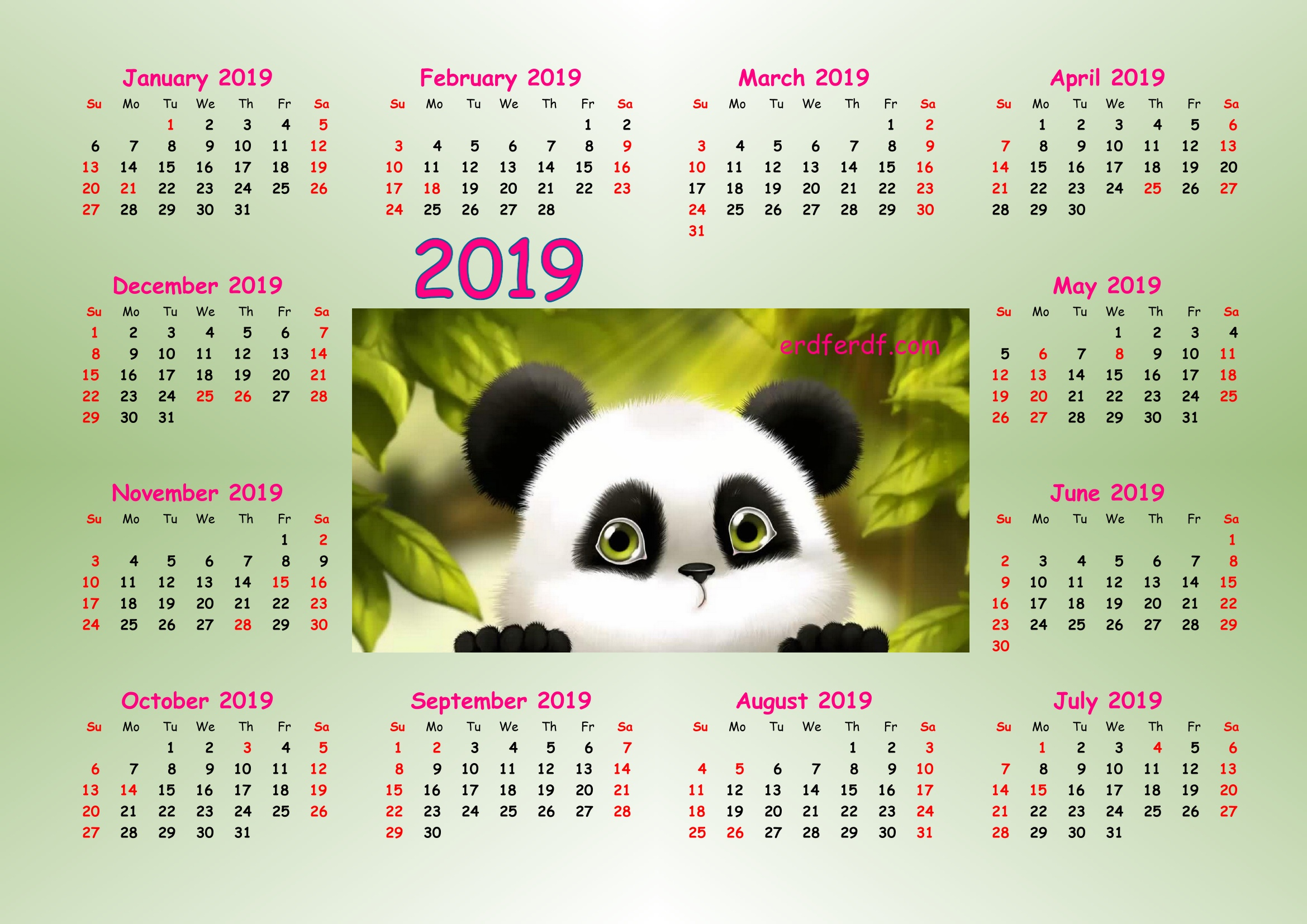 3 Cute Panda 2019 Calendar Printable for Free