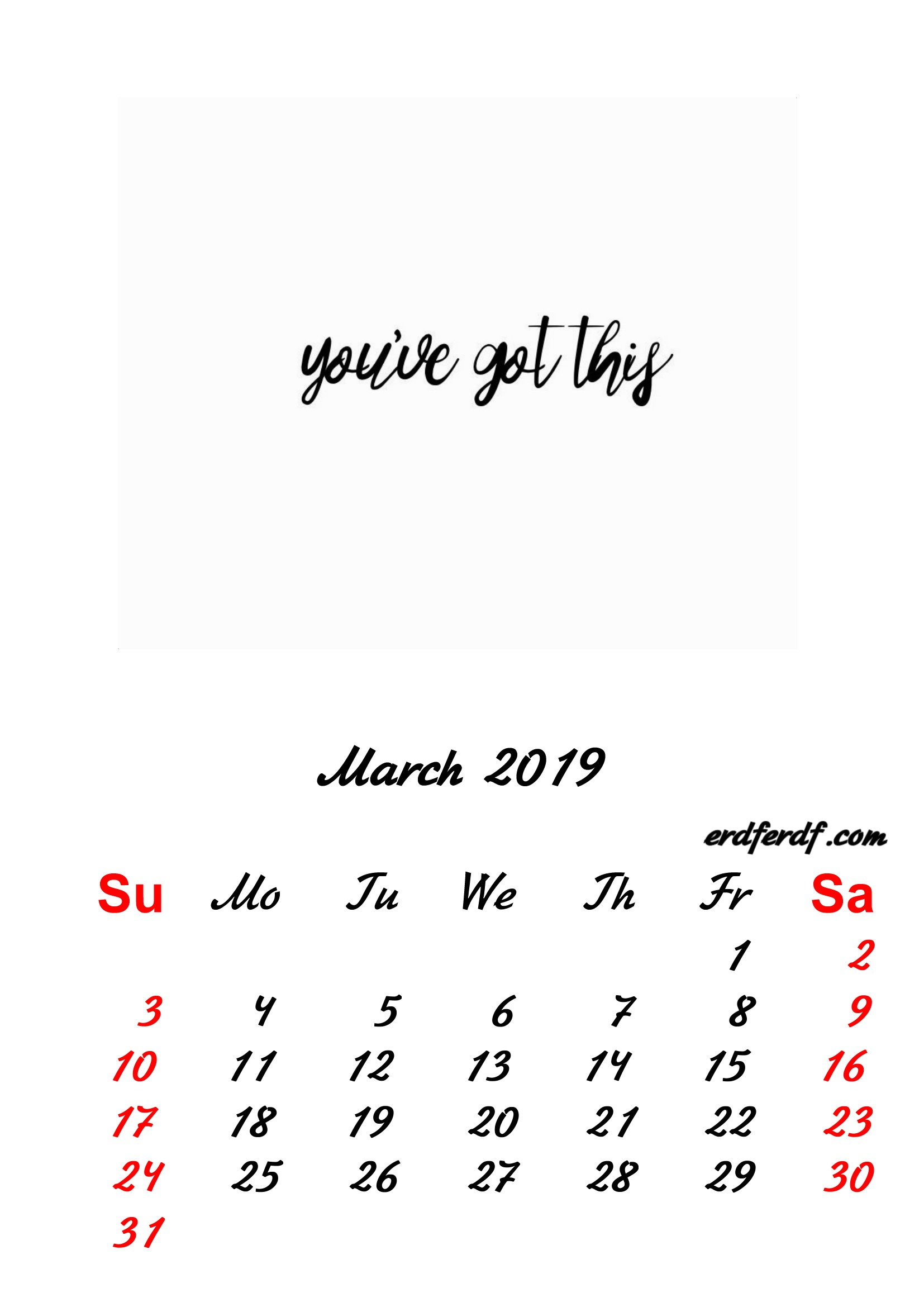 3 March 2019 Inspirational Quotes Pprintable Calendar