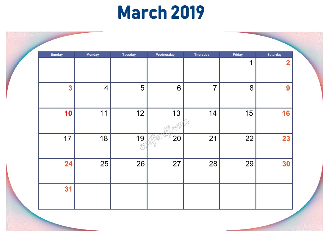3 March Blank Calendar 2019 To Print