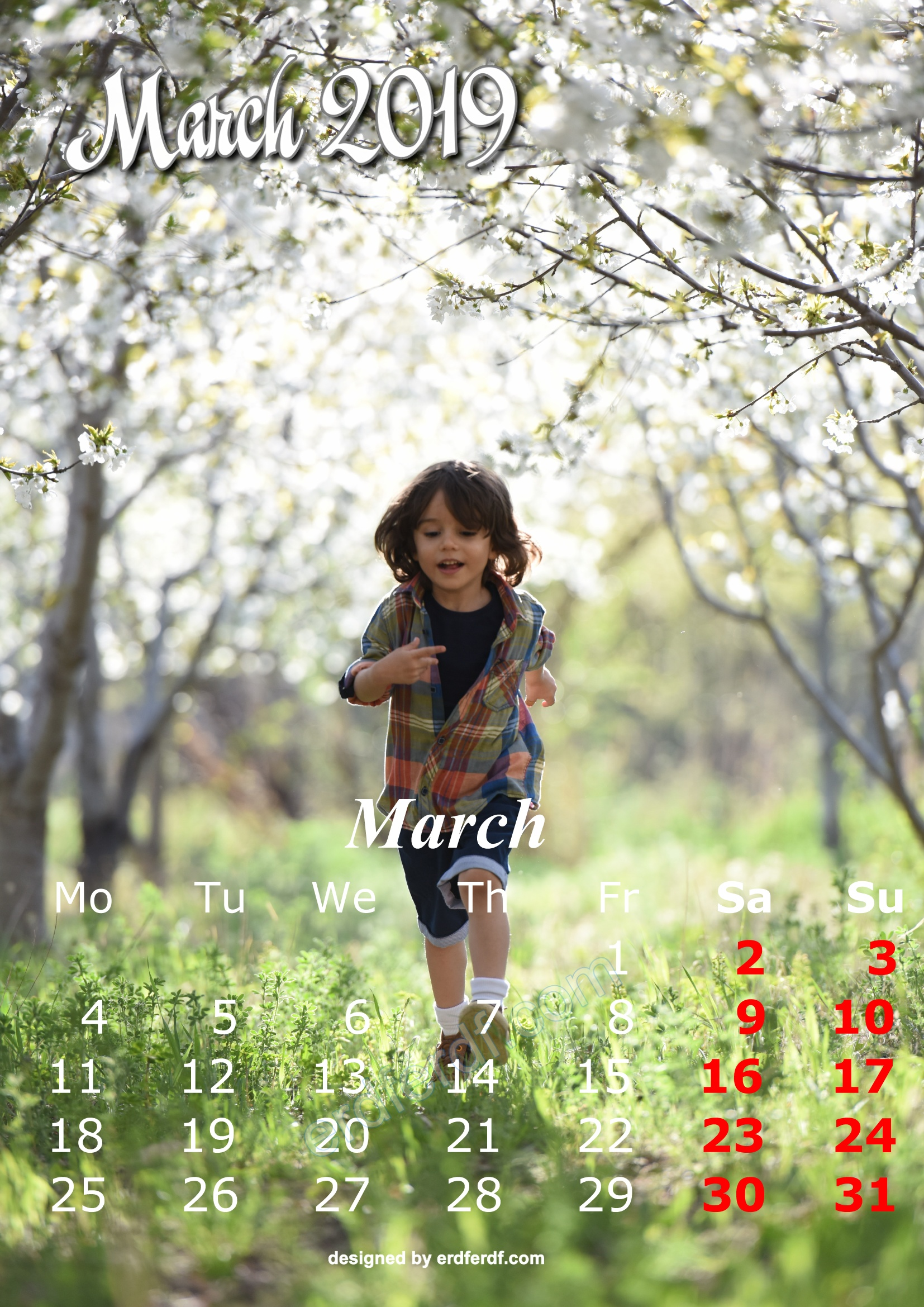 3 March Cute Kids Calendar 2019 Printable Free Design