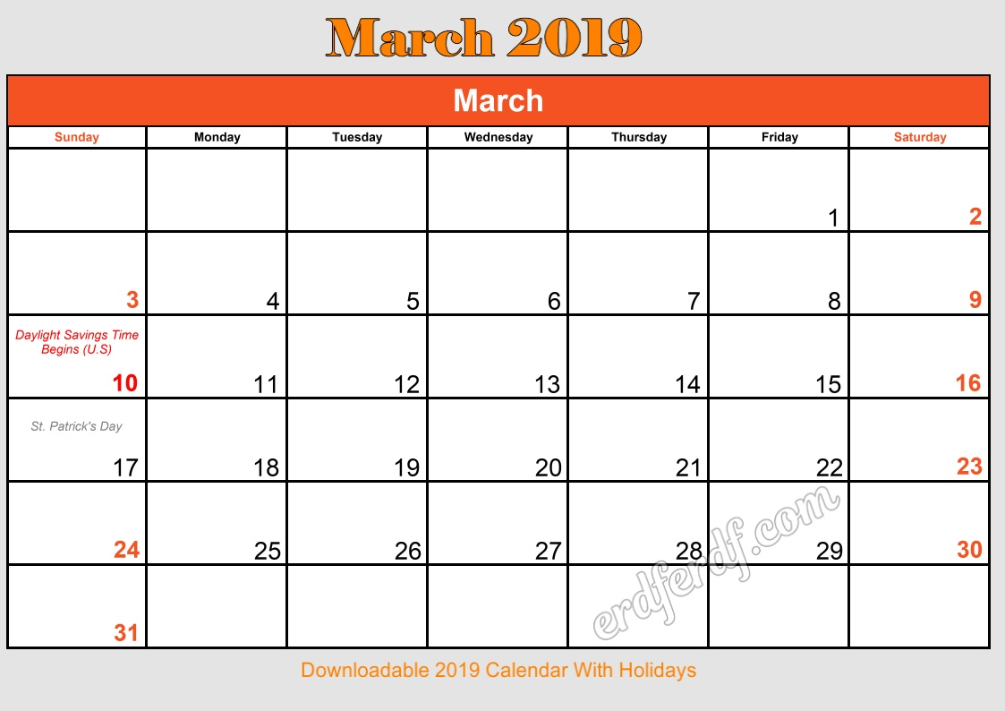 3 March Downloadable 2019 Calendar With Holidays
