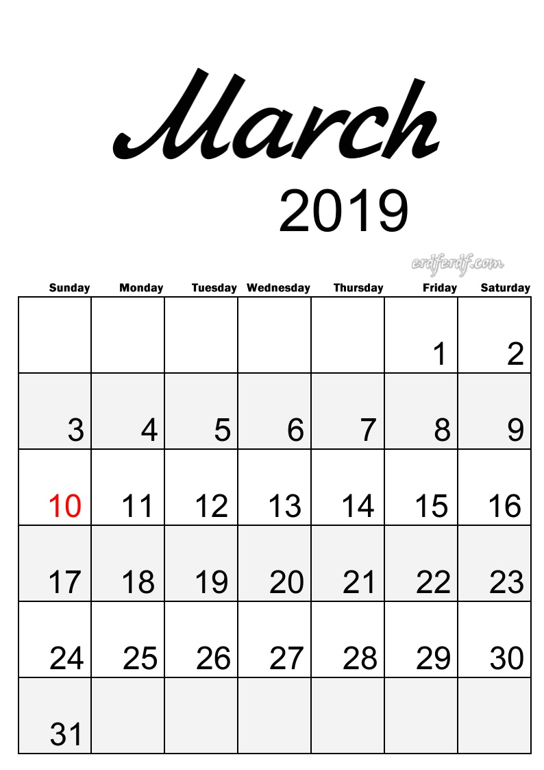 3 March Simple Elegance Calendar 2019 Beautiful Typography
