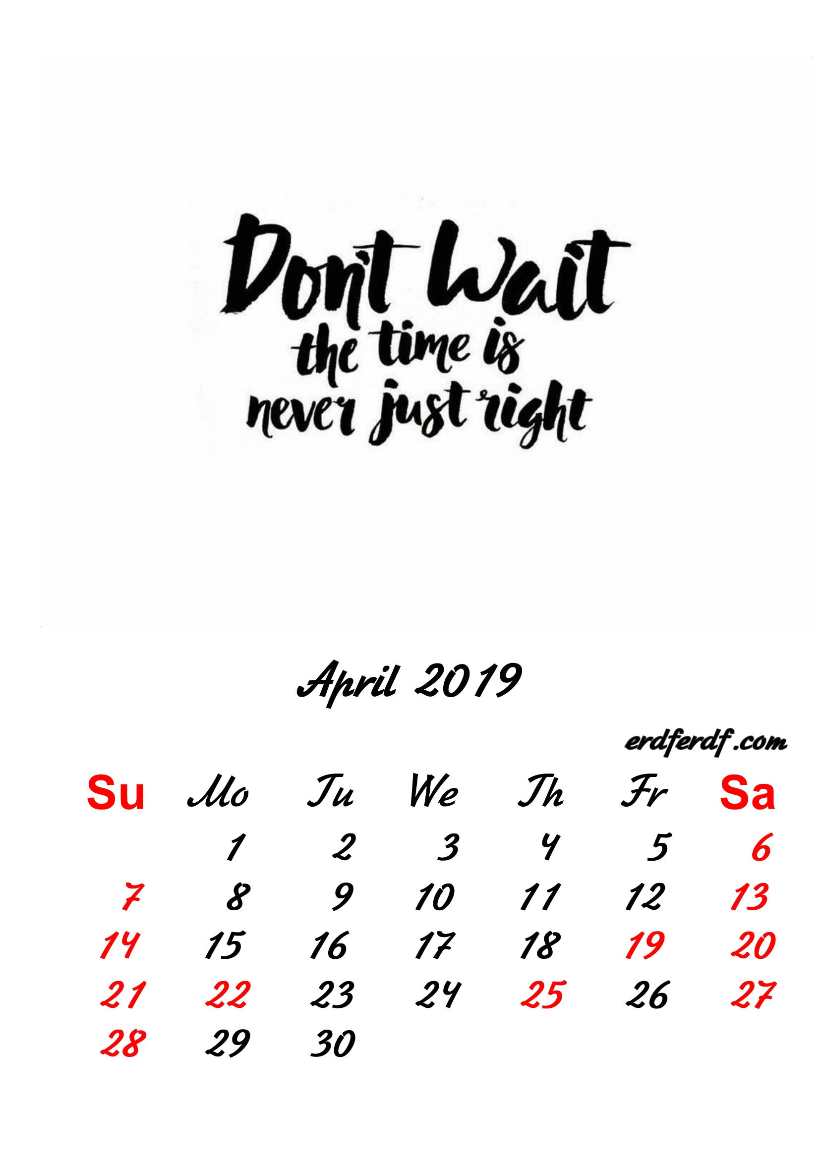 4 April 2019 Inspirational Quotes Pprintable Calendar