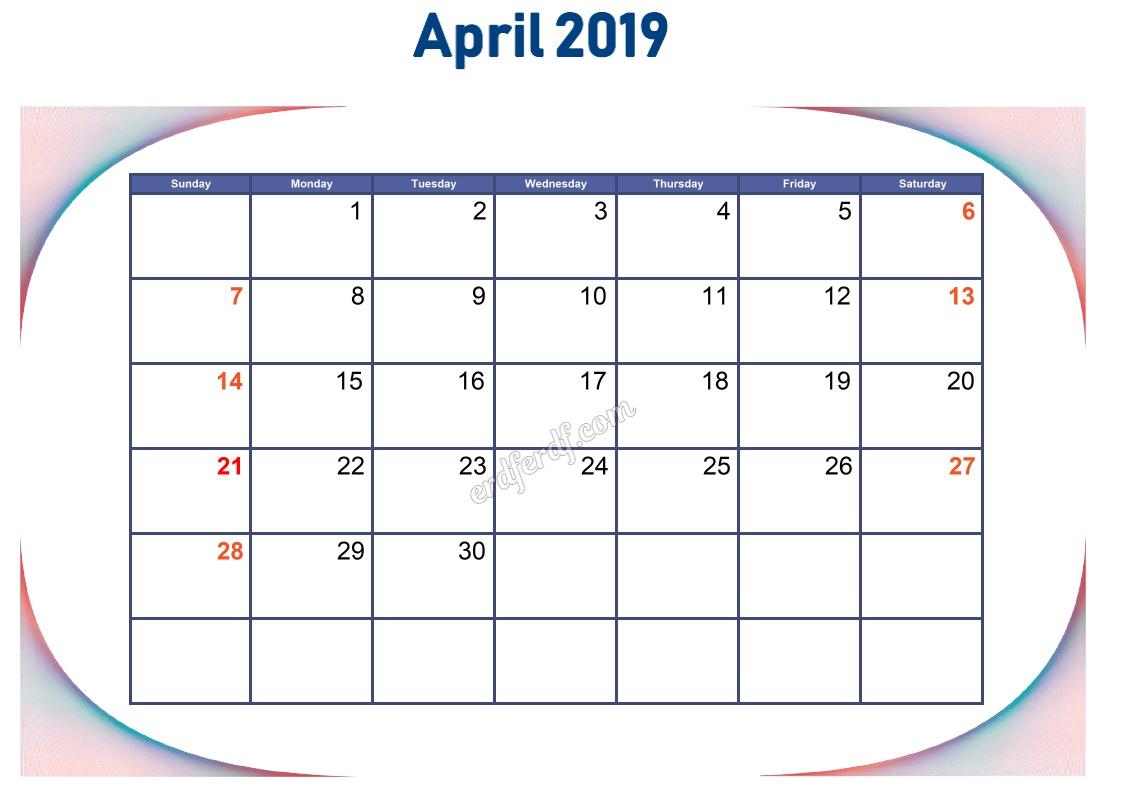 4 April Blank Calendar 2019 To Print