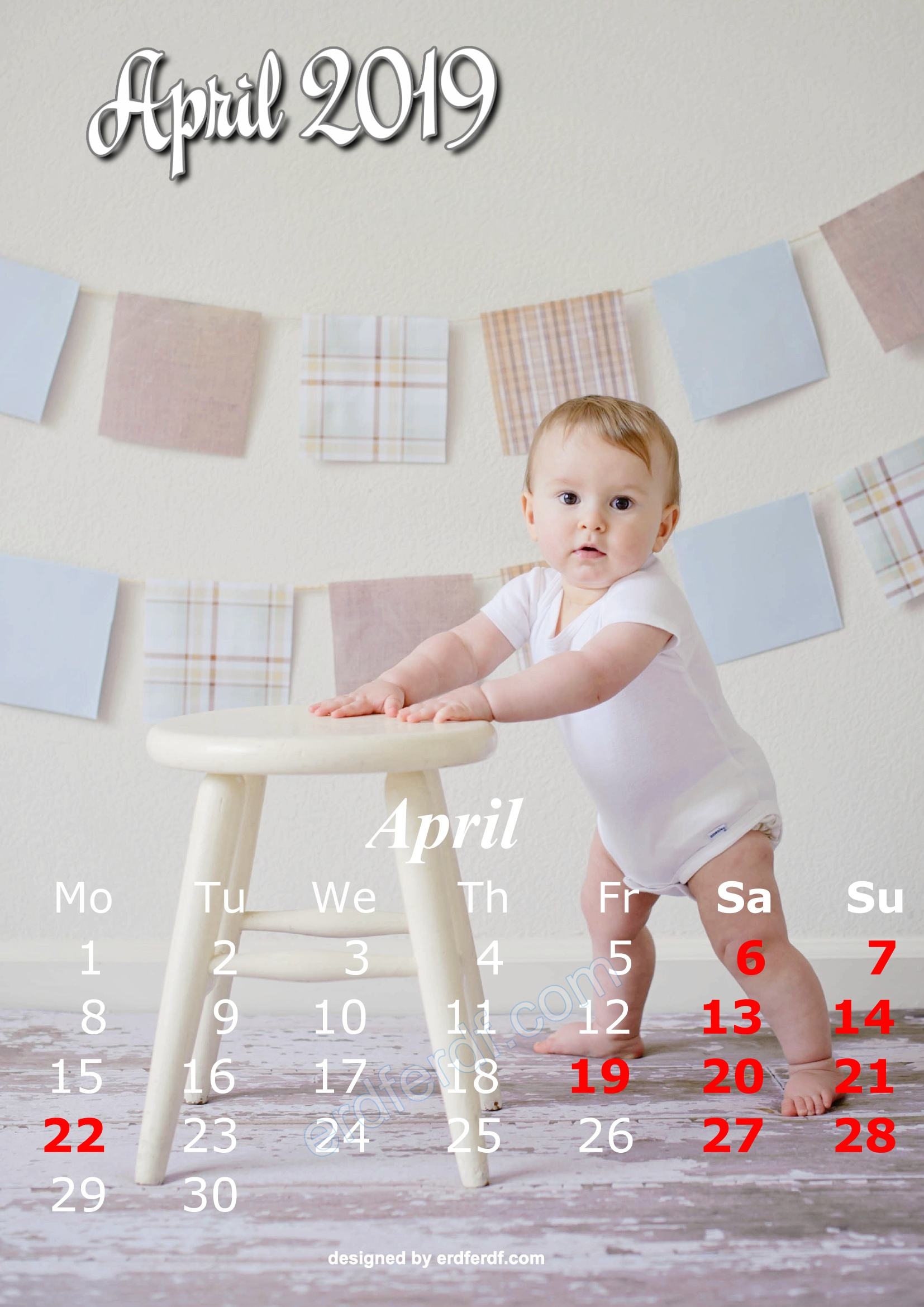 4 April Cute Kids Calendar 2019 Printable Free Design