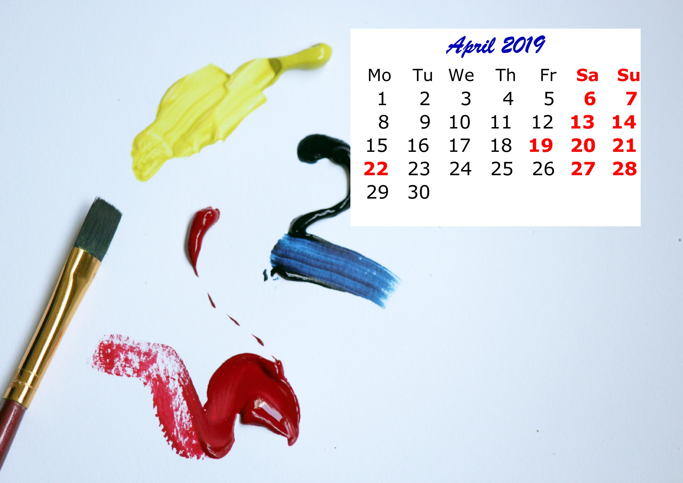 4 April Monthly 2019 Calendar Beautiful Painting Template