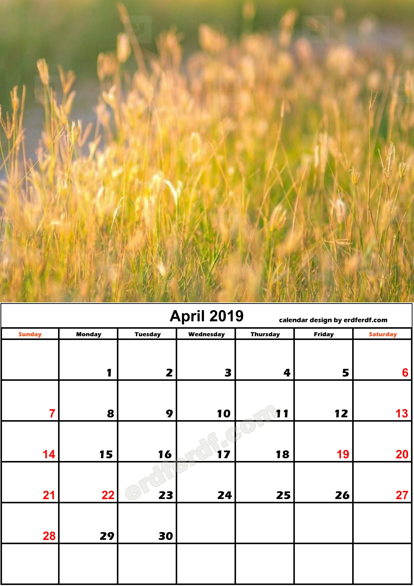 4 April Nature Calendar Monthly 2019 Free Download