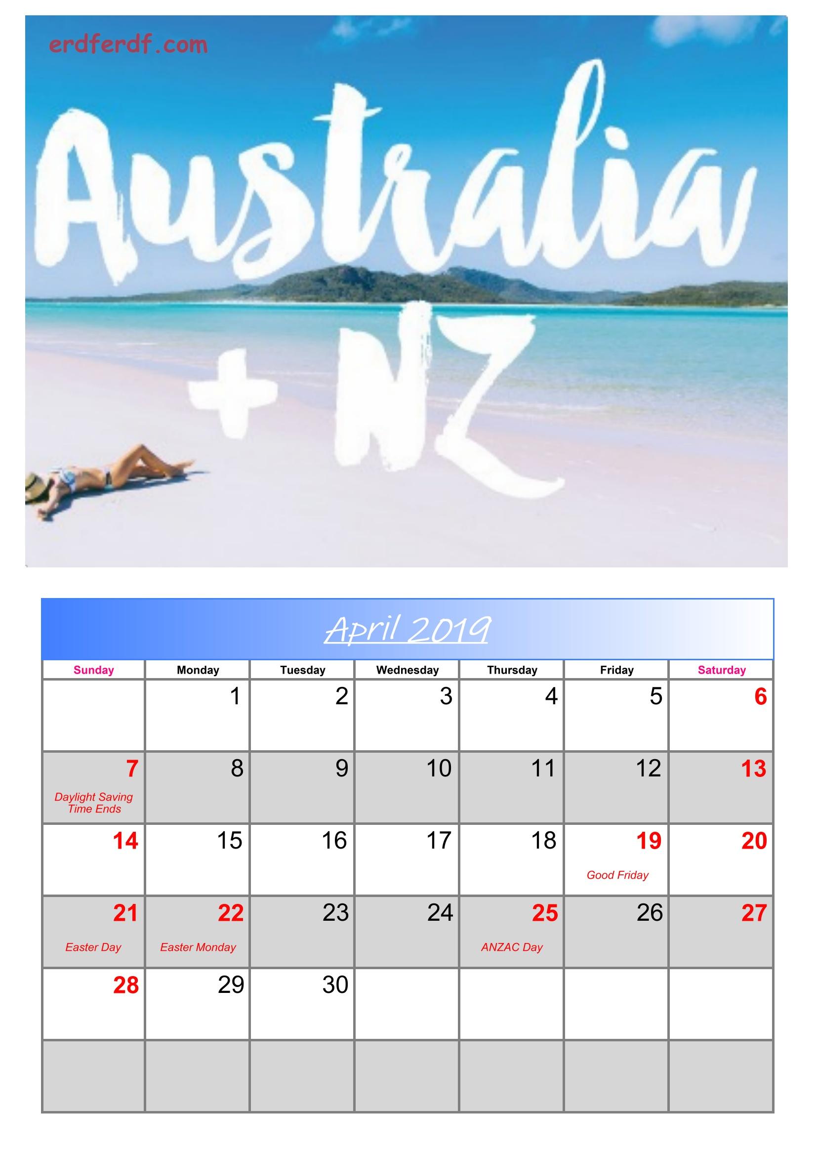 4 Arpil Australia Calendar 2019 With Holidays