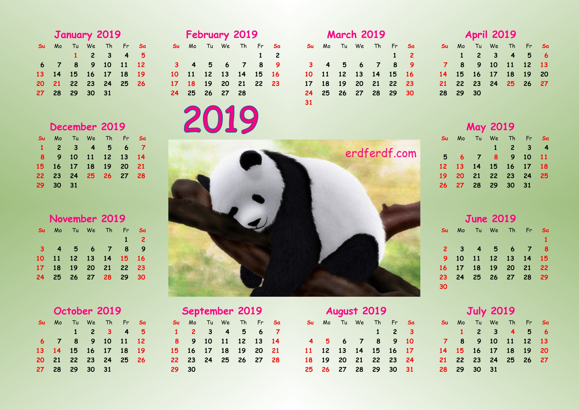 4 Cute Panda 2019 Calendar Printable for Free