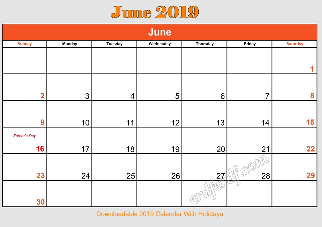 5 June Downloadable 2019 Calendar With Holidays