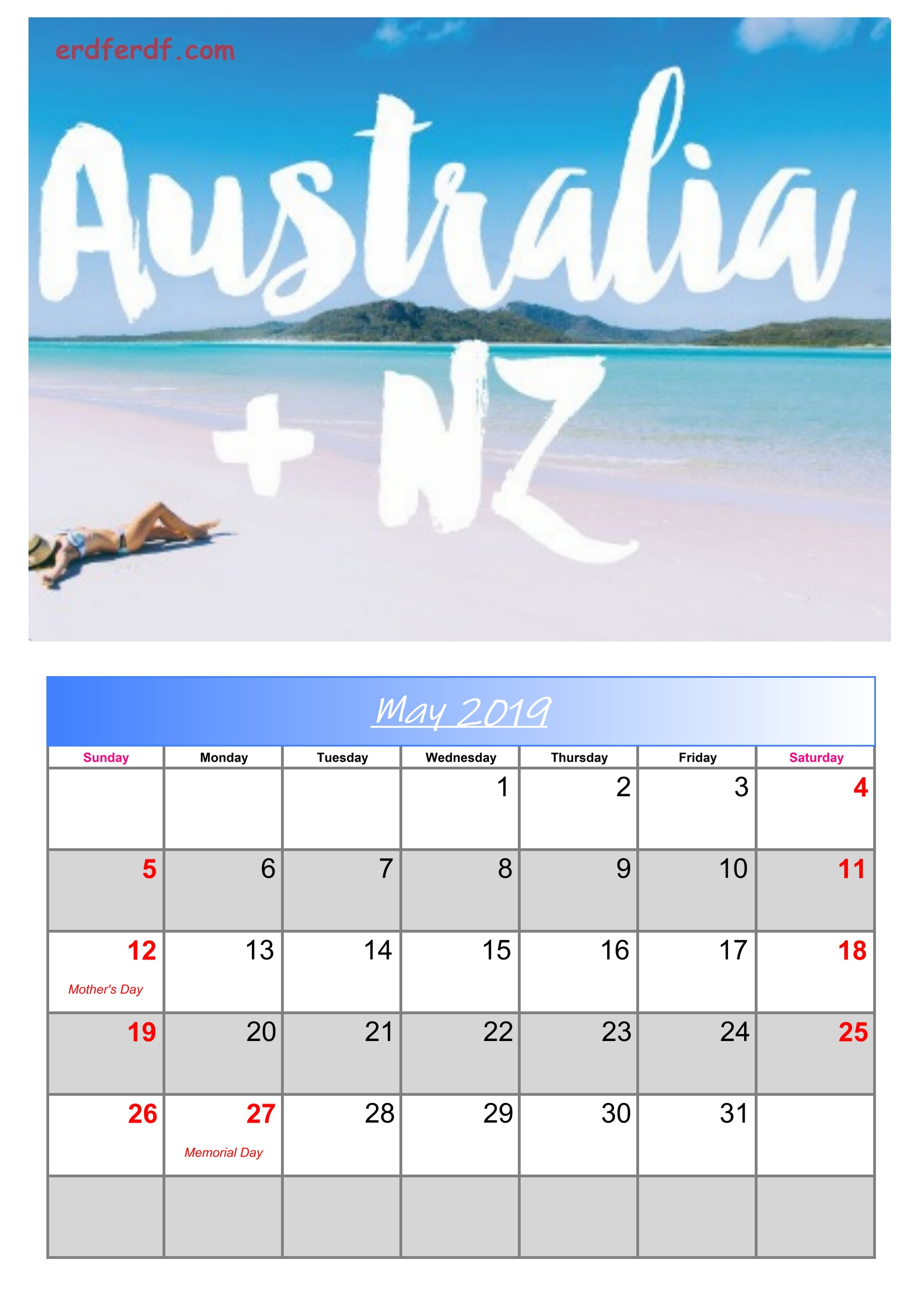 5 May Australia Calendar 2019 With Holidays