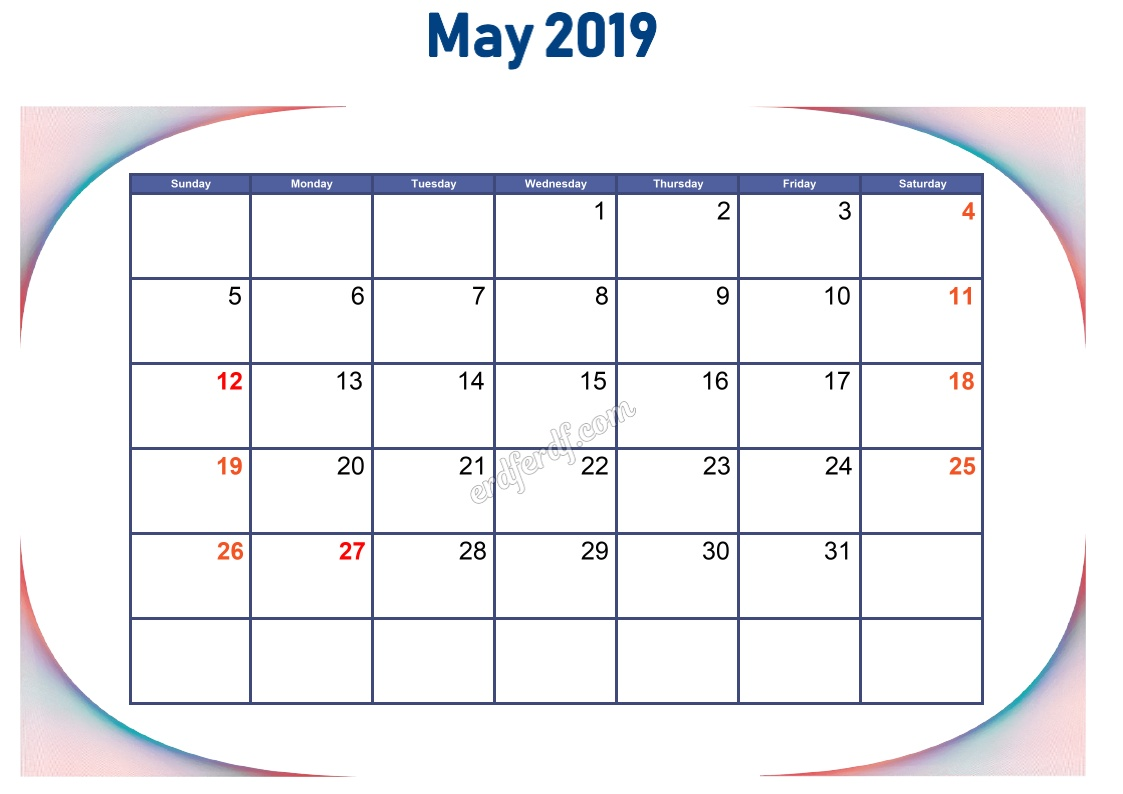 5 May Blank Calendar 2019 To Print