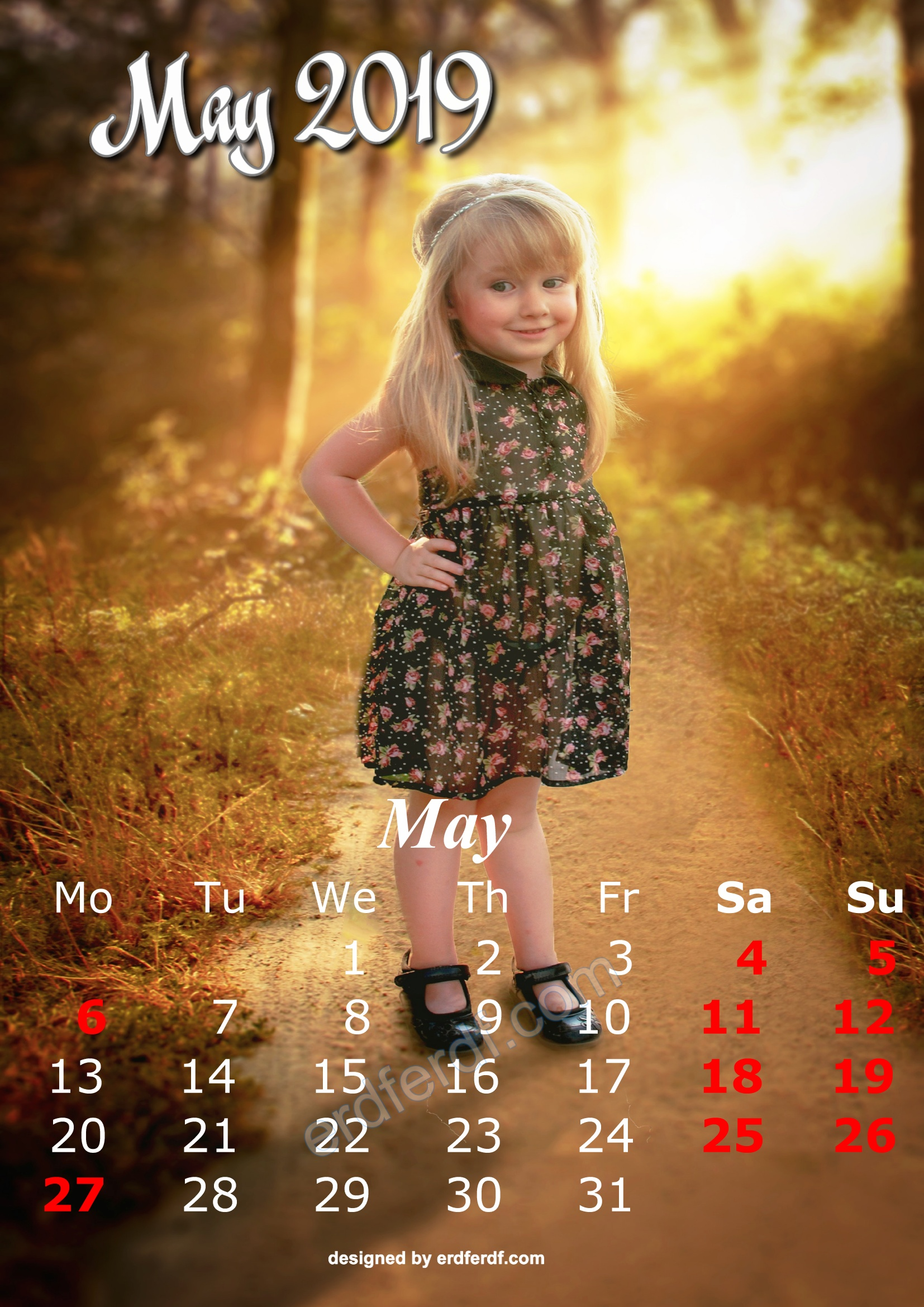 5 May Cute Kids Calendar 2019 Printable Free Design