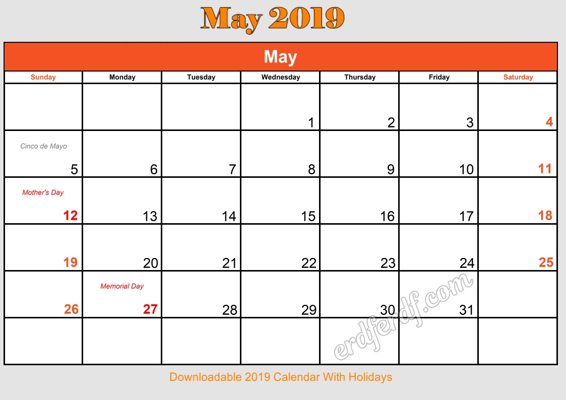 5 May Downloadable 2019 Calendar With Holidays