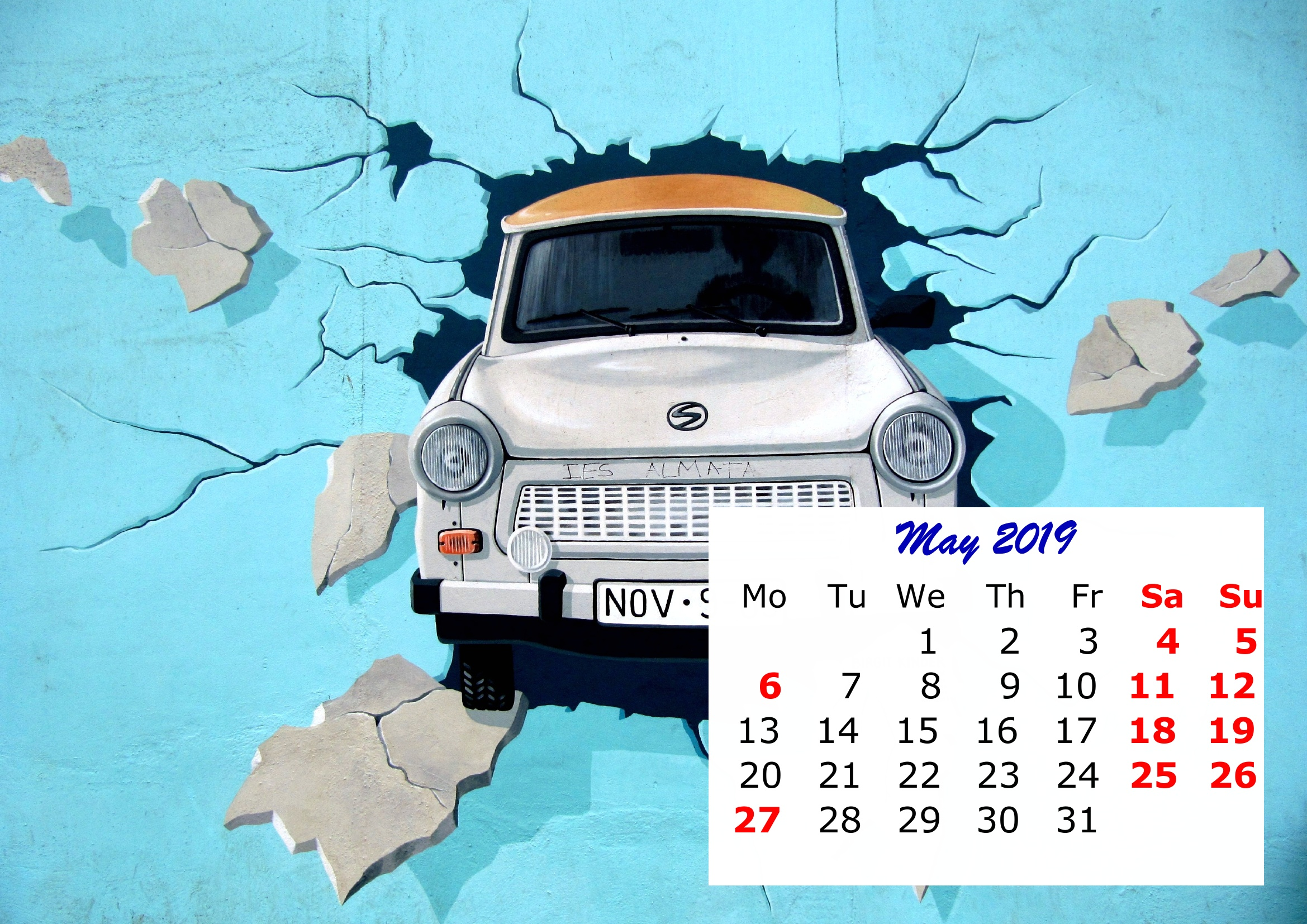 5 May Monthly 2019 Calendar Beautiful Painting Template
