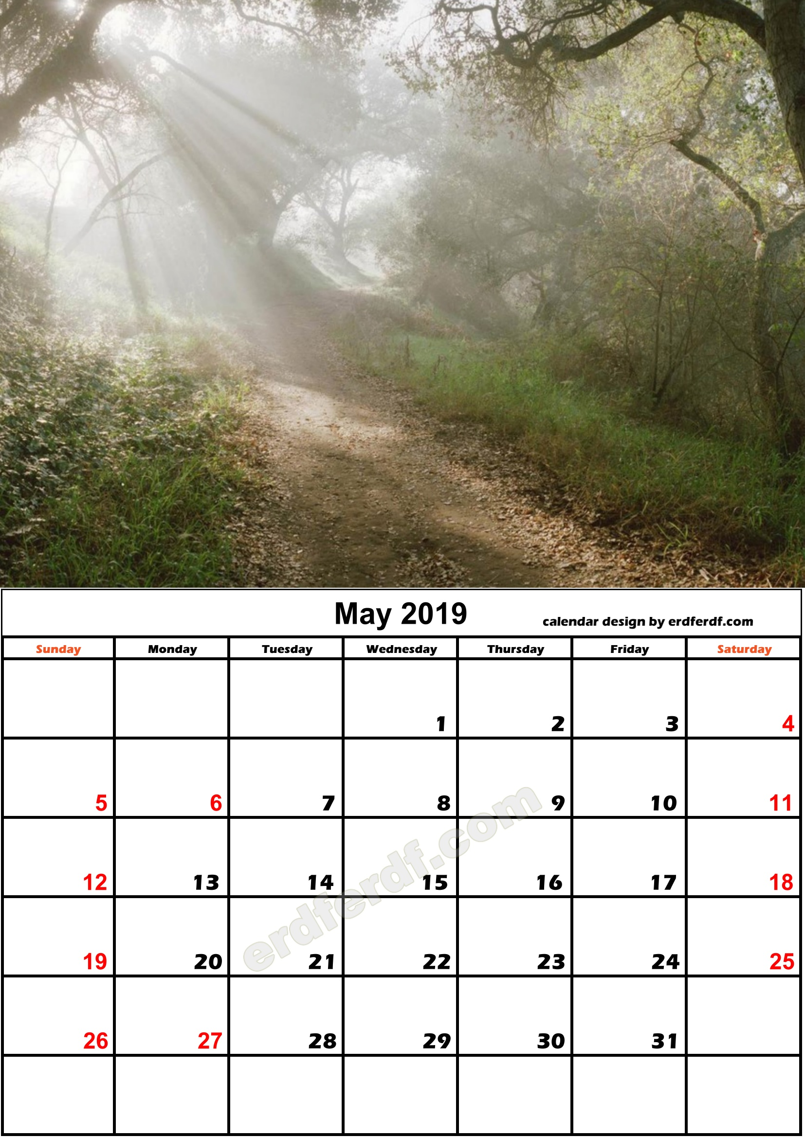5 May Nature Calendar Monthly 2019 Free Download