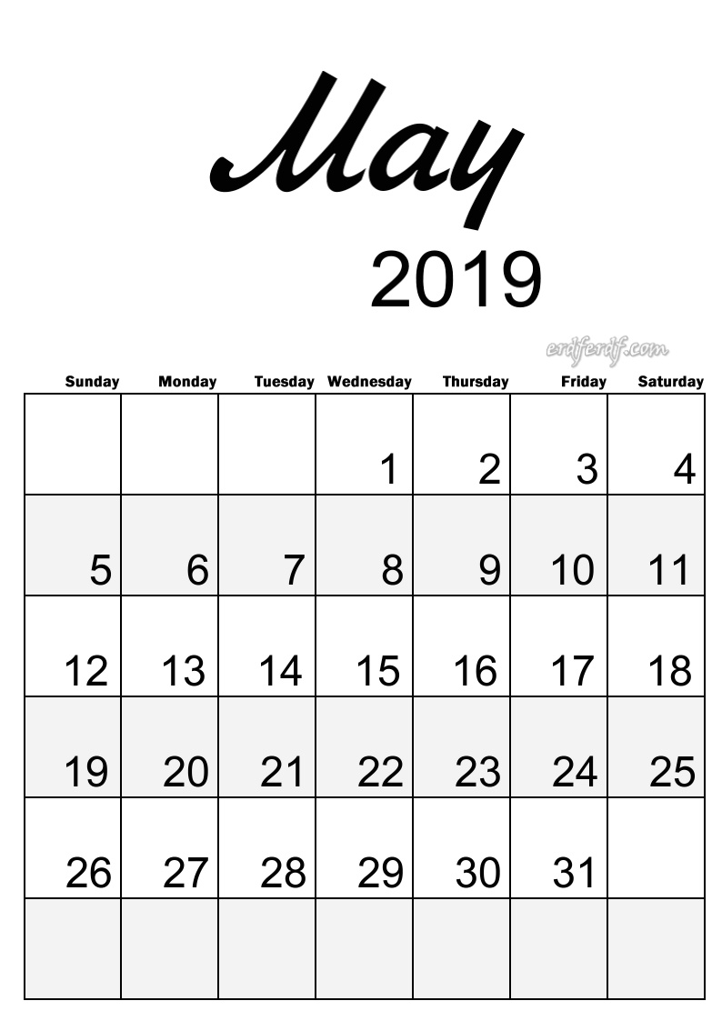 5 May Simple Elegance Calendar 2019 Beautiful Typography