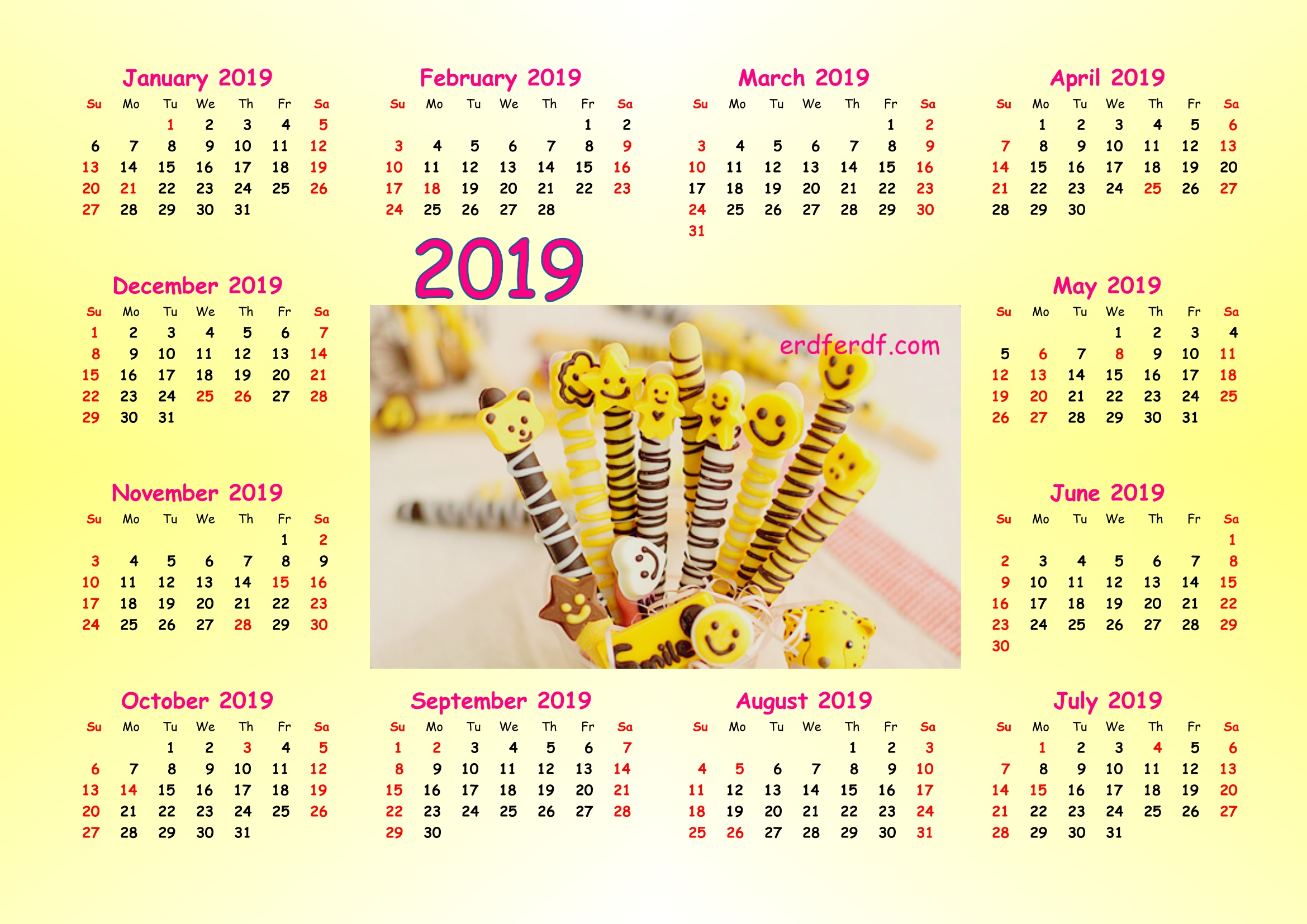 Cute Panda 2019 Calendar Printable for Free