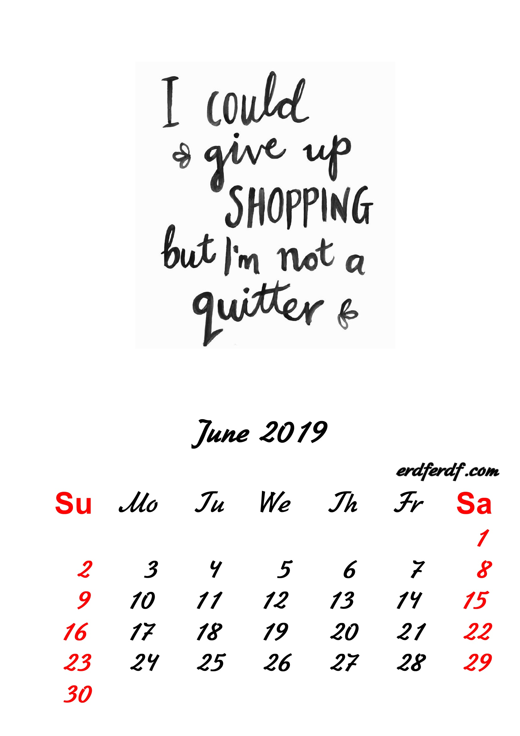 6 June 2019 Inspirational Quotes Pprintable Calendar
