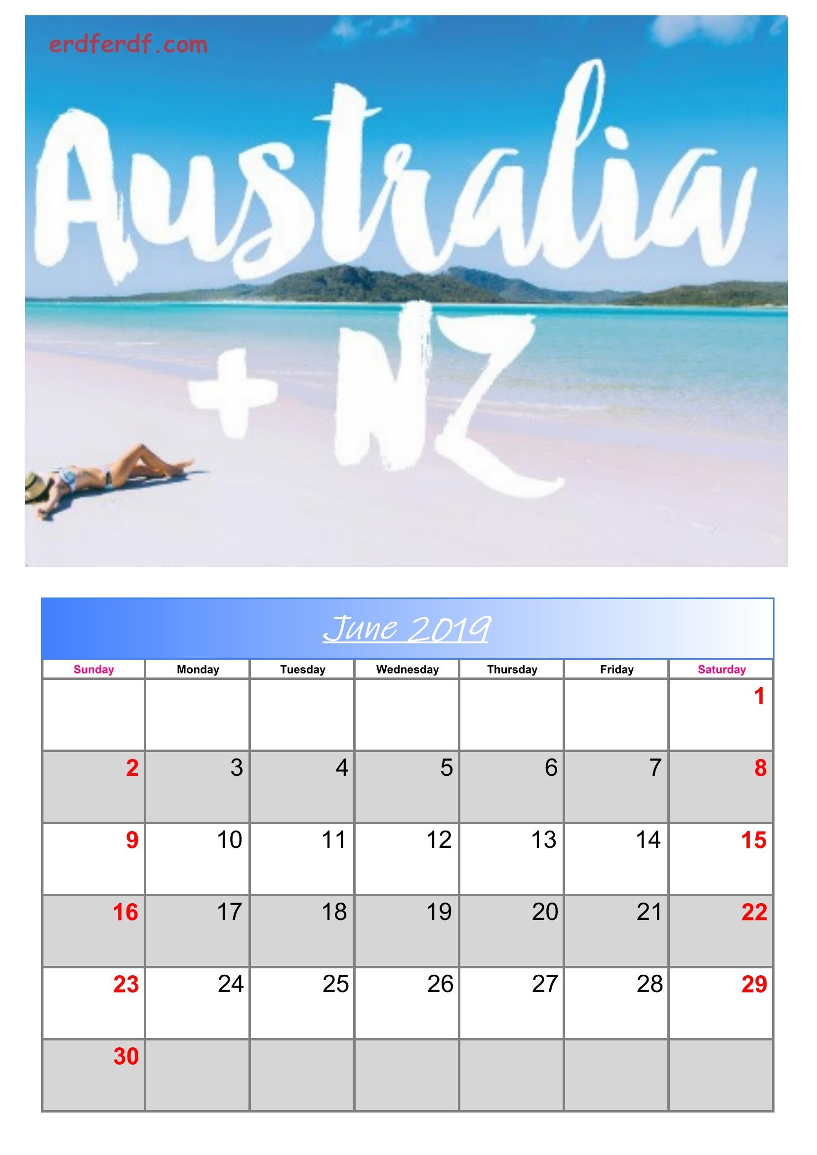 6 June Australia Calendar 2019 With Holidays