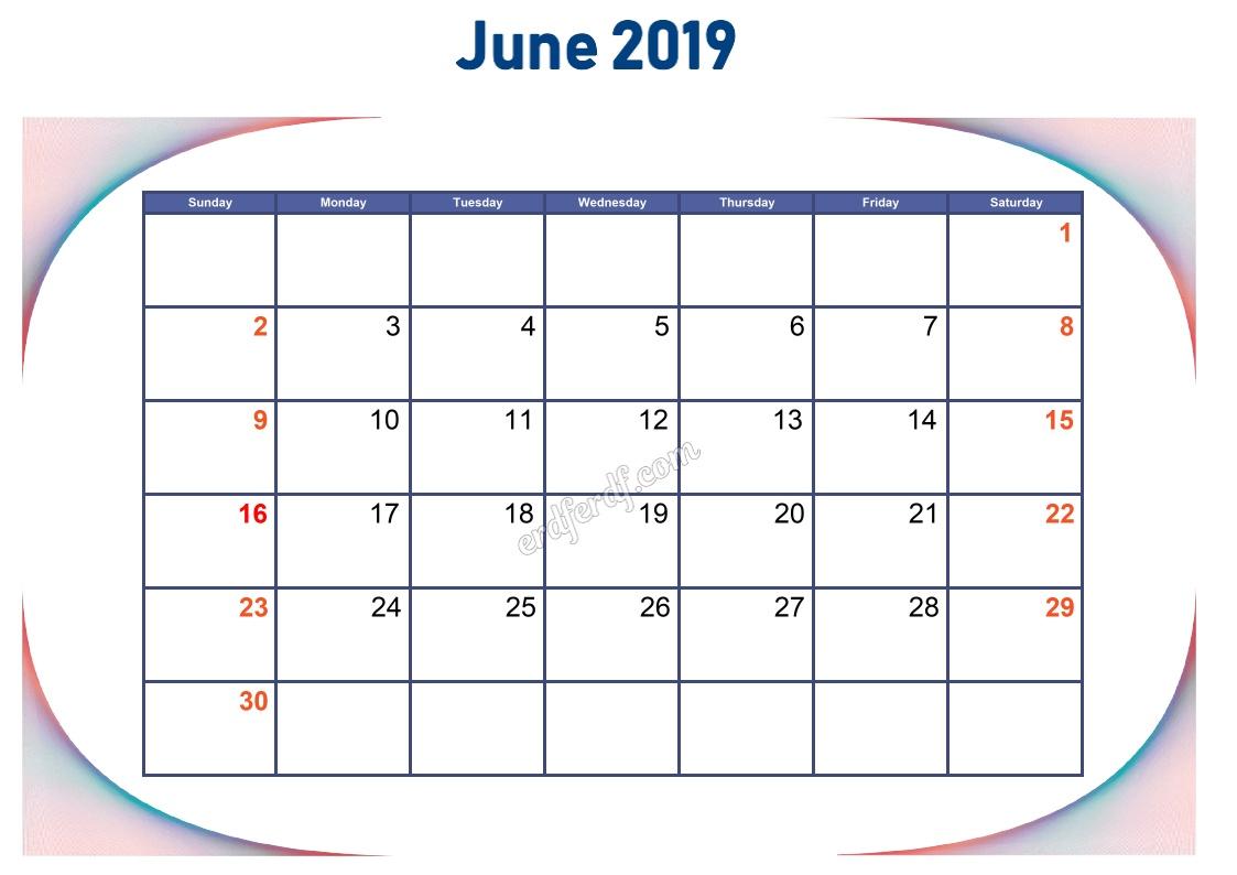 6 June Blank Calendar 2019 To Print