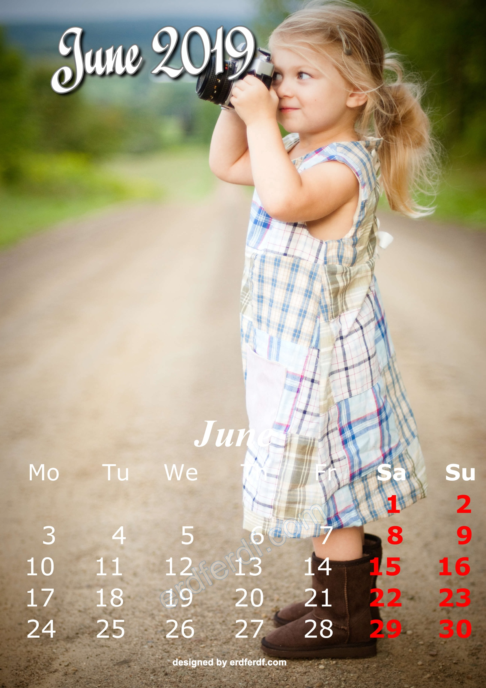 6 June Cute Kids Calendar 2019 Printable Free Design