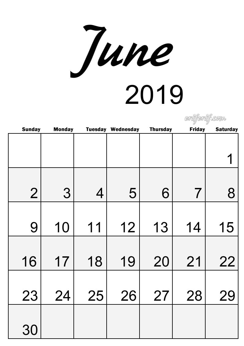 6 June Simple Elegance Calendar 2019 Beautiful Typography