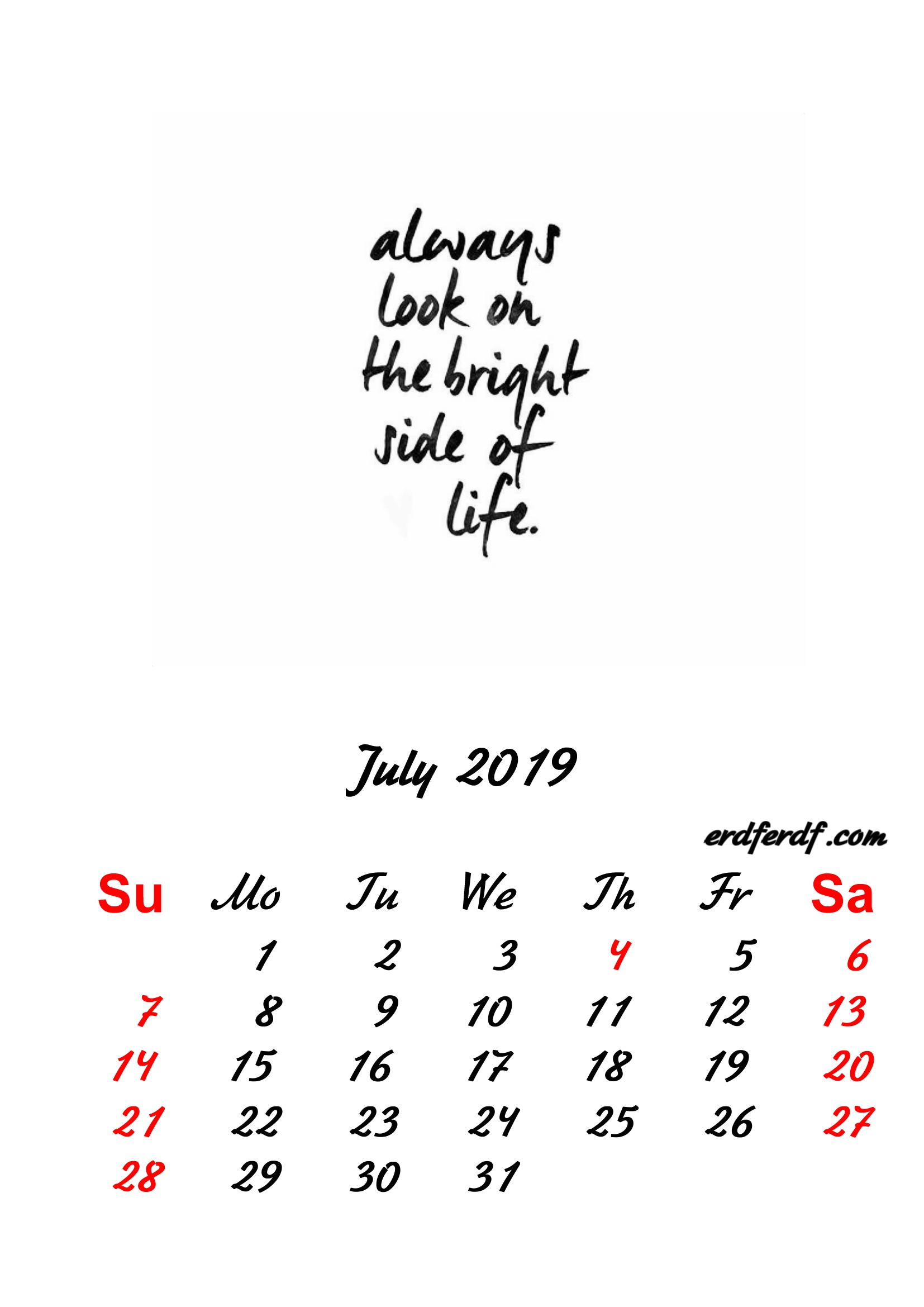 7 July 2019 Inspirational Quotes Pprintable Calendar