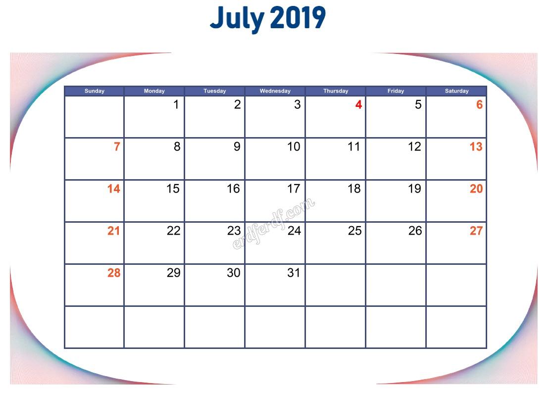 7 July Blank Calendar 2019 To Print
