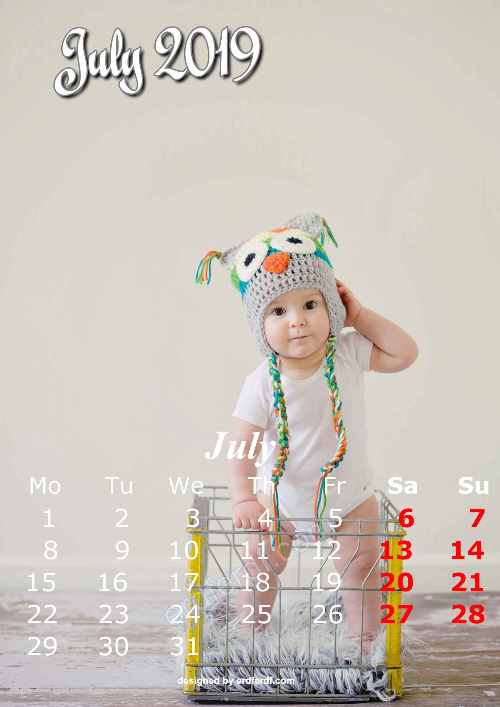 7 July Cute Kids Calendar 2019 Printable Free Design
