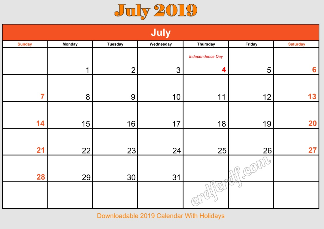7 July Downloadable 2019 Calendar With Holidays