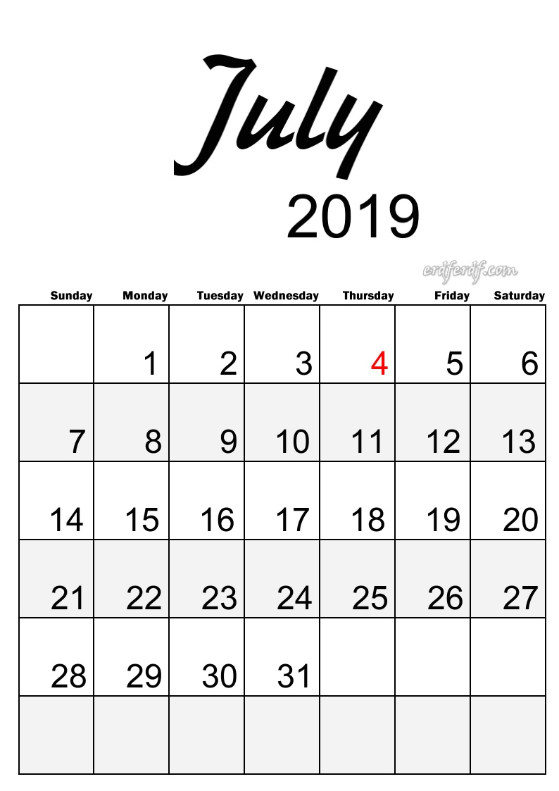 7 July Simple Elegance Calendar 2019 Beautiful Typography
