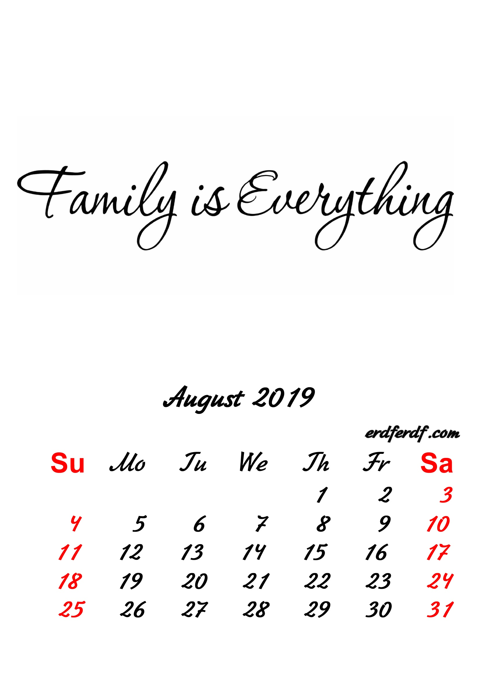 8 August 2019 Inspirational Quotes Pprintable Calendar