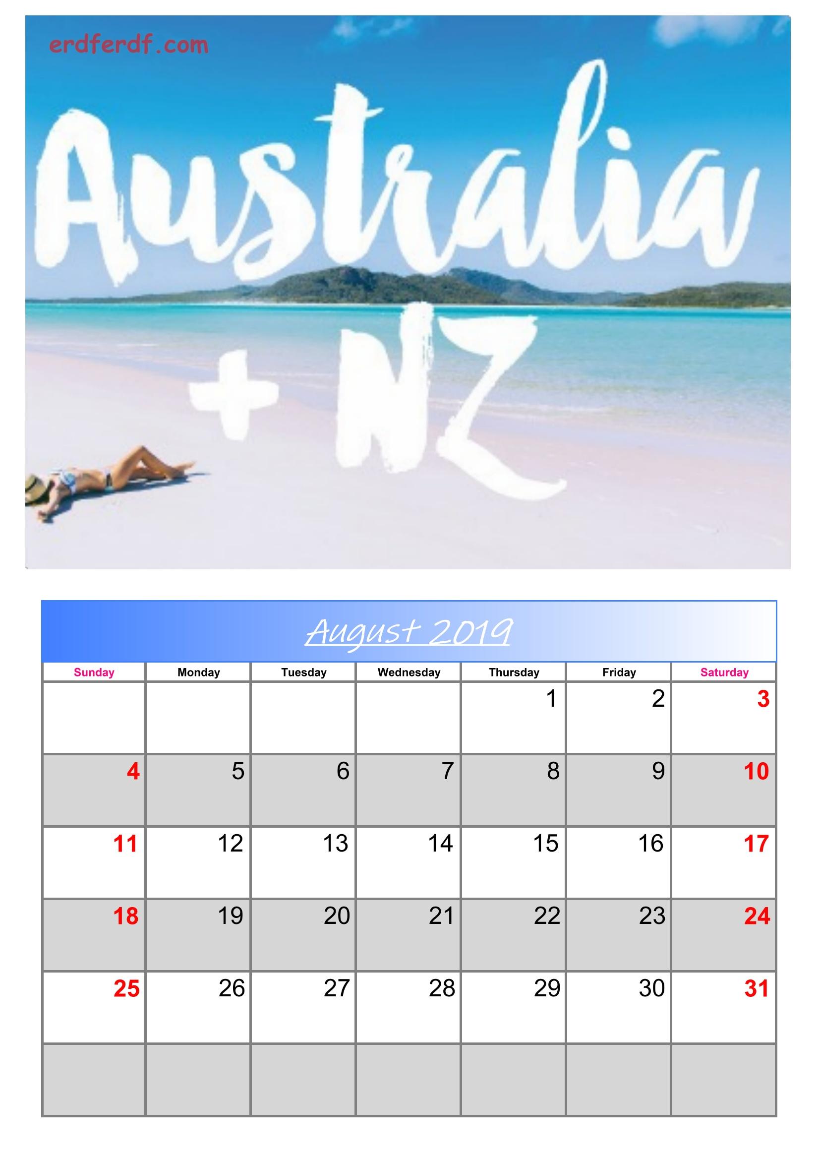8 August Australia Calendar 2019 With Holidays