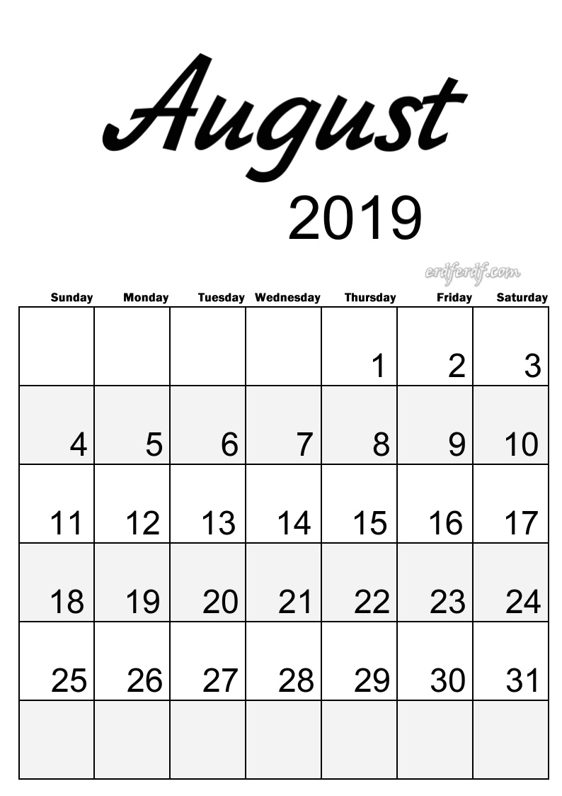 8 August Simple Elegance Calendar 2019 Beautiful Typography