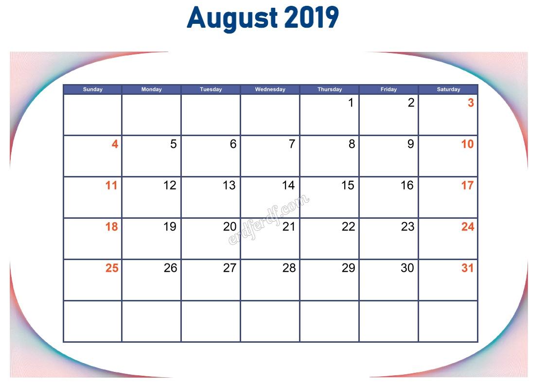 8 Augustust Blank Calendar 2019 To Print
