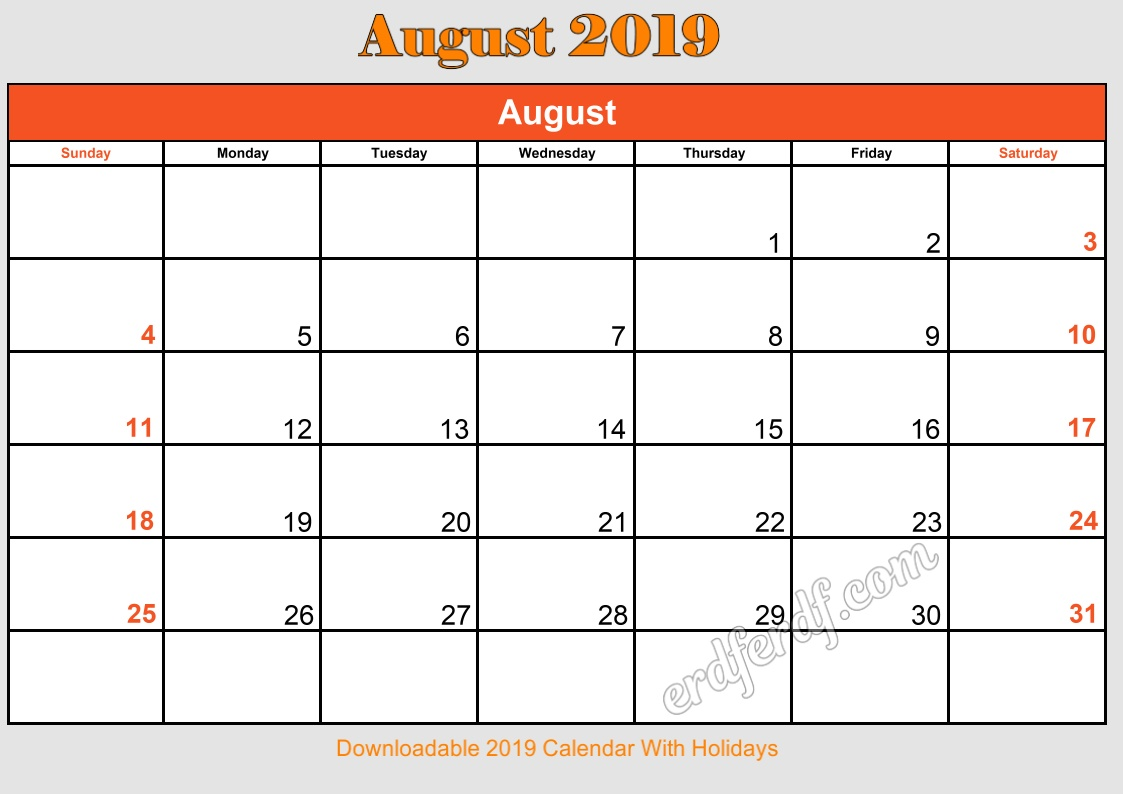 8 Augustust Downloadable 2019 Calendar With Holidays