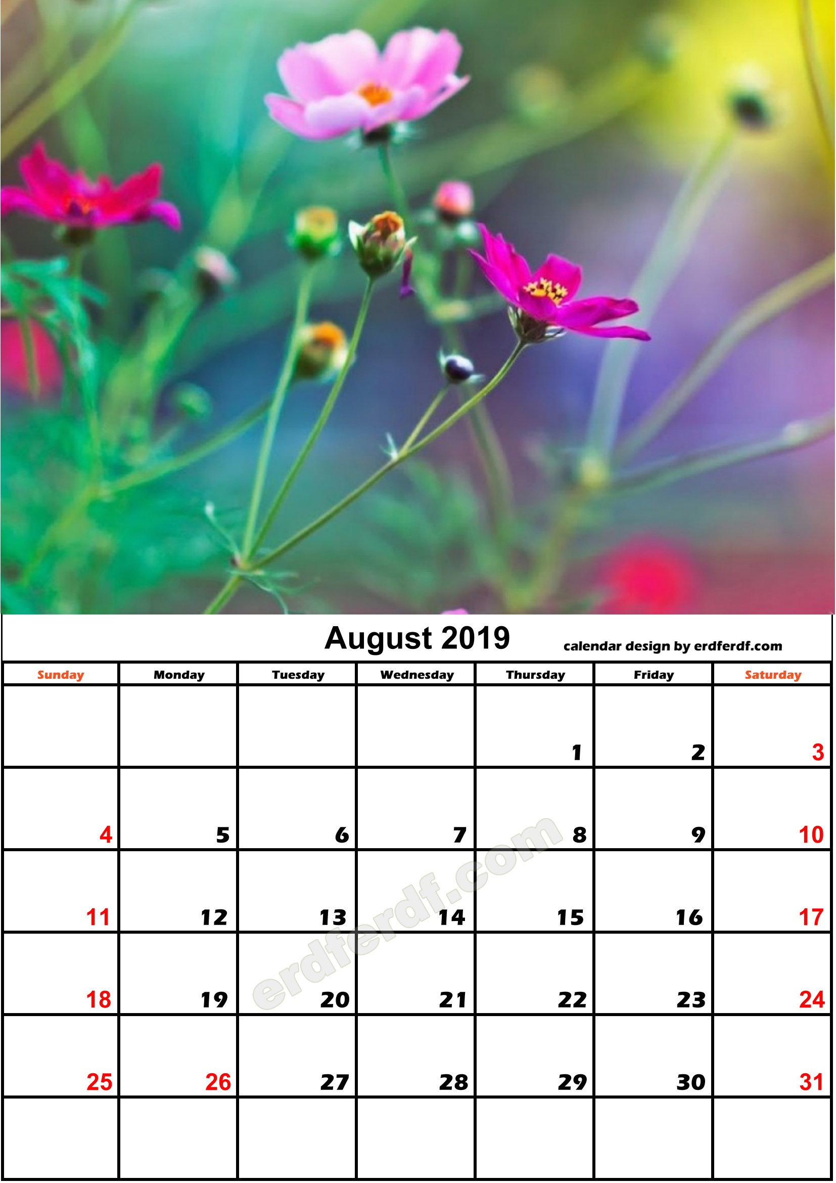 8 Flower August Calendar Nature Calendar Monthly 2019 Free Download