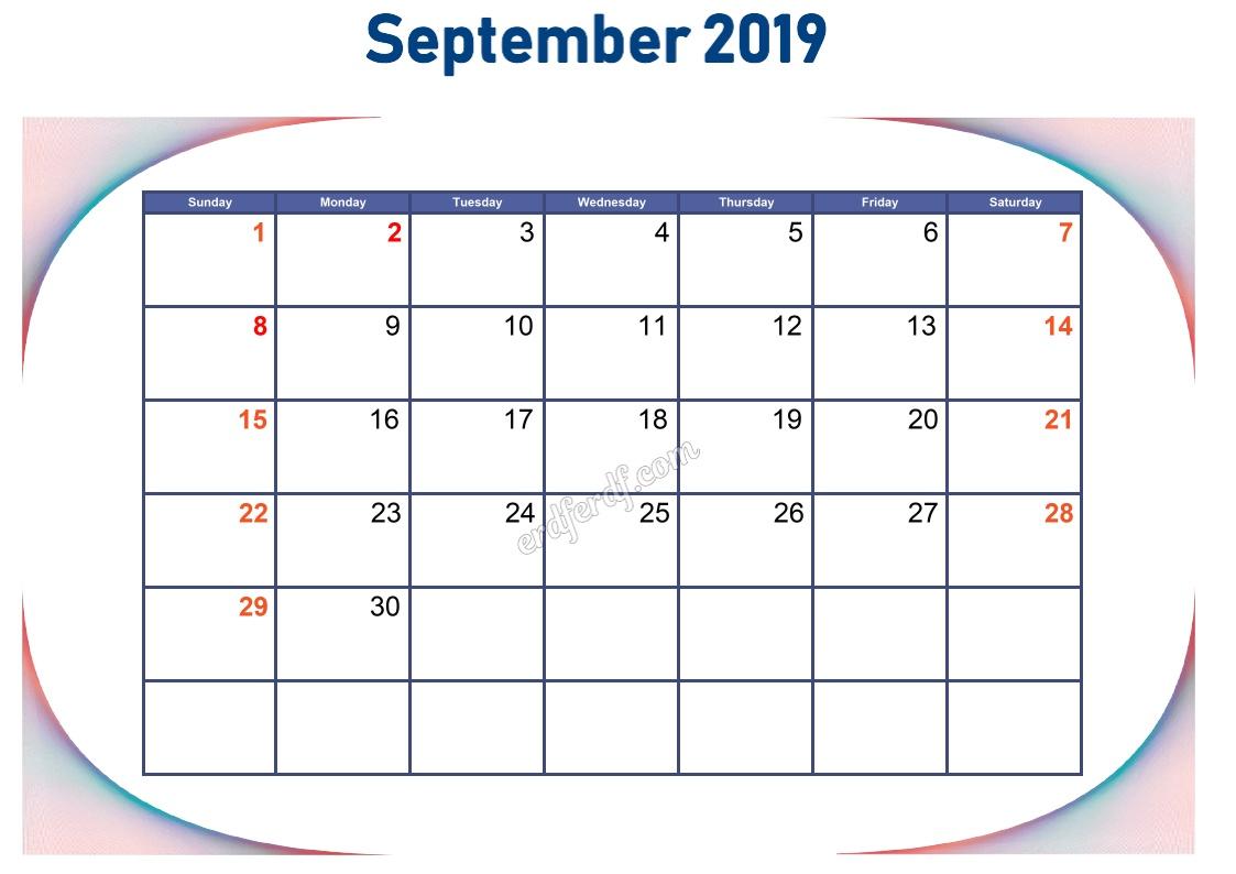 9 September Blank Calendar 2019 To Print