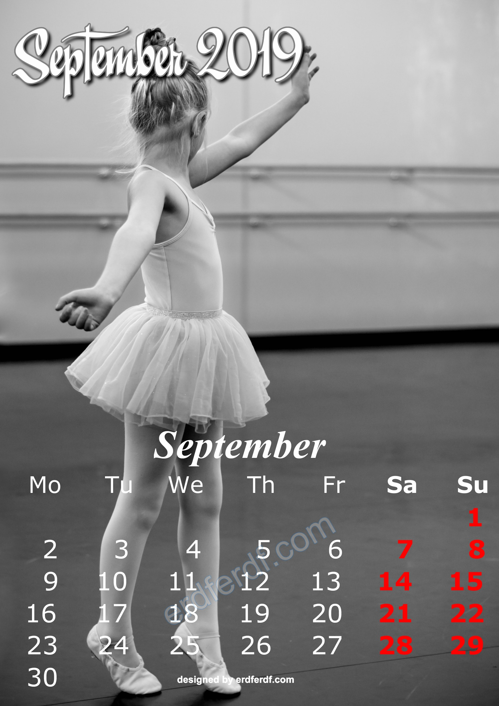 9 September Cute Kids Calendar 2019 Printable Free Design
