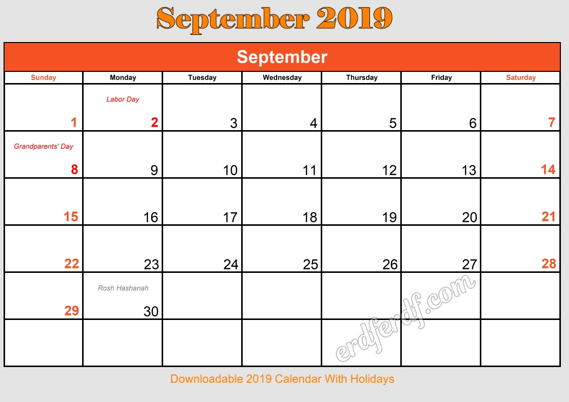 9 September Downloadable 2019 Calendar With Holidays