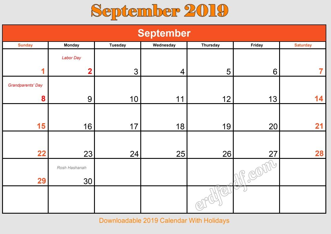 9 September Downloadable 2019 Calendar With Holidays