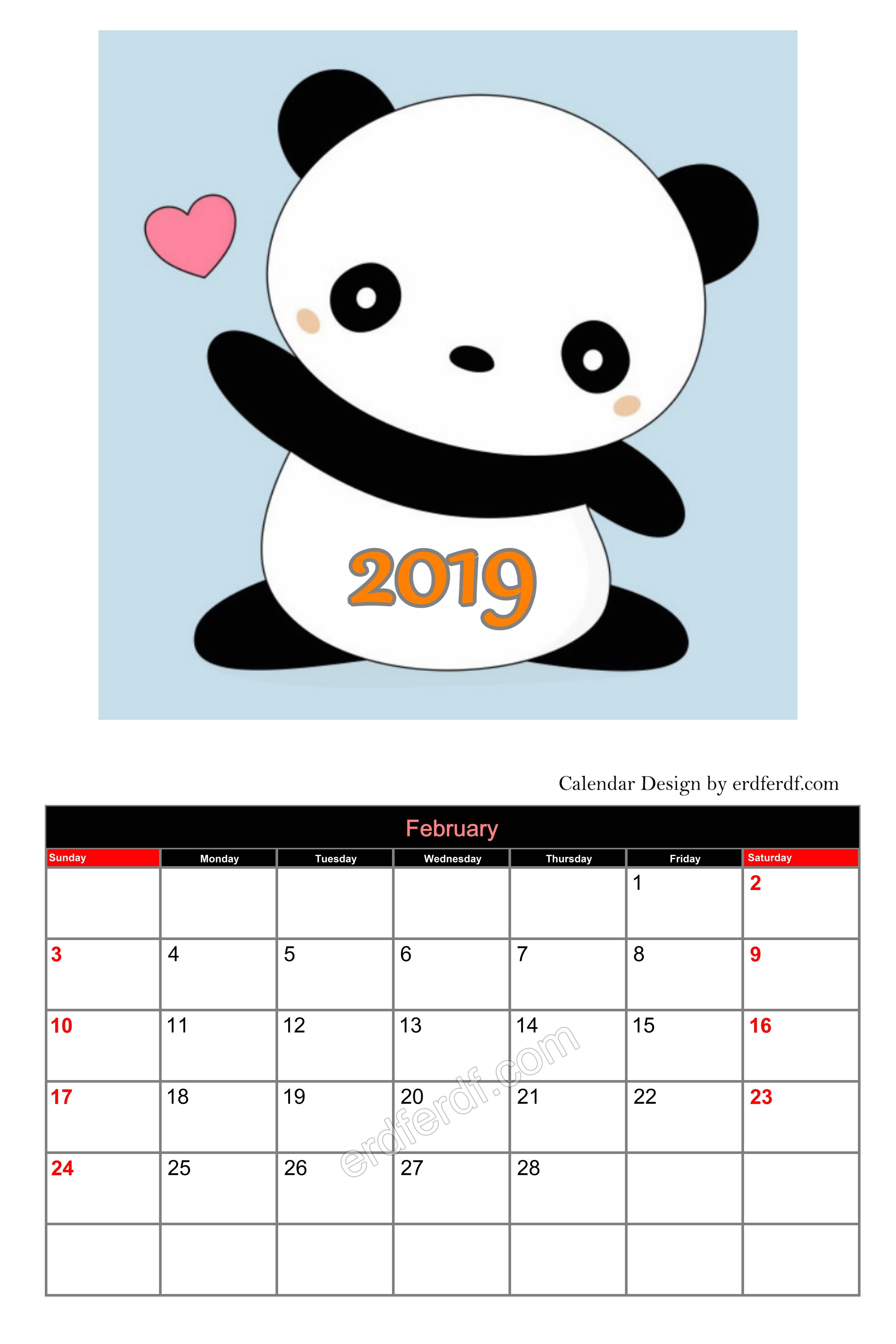 Cute Editable Calendar 2019 February Cute Free Download