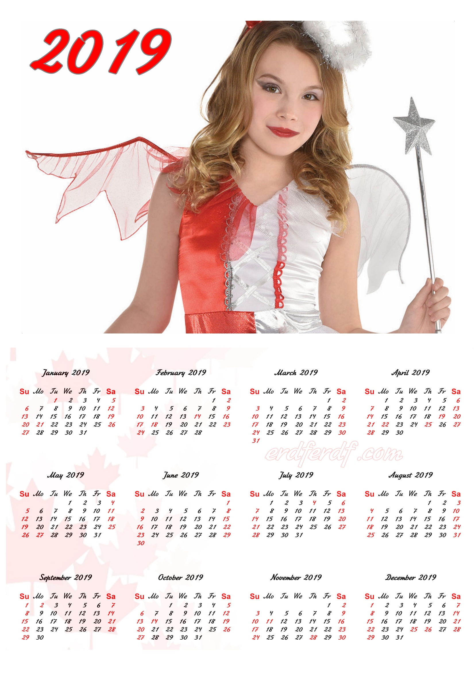 Cute Girl Canada 2019 Calendar Printable Free Download