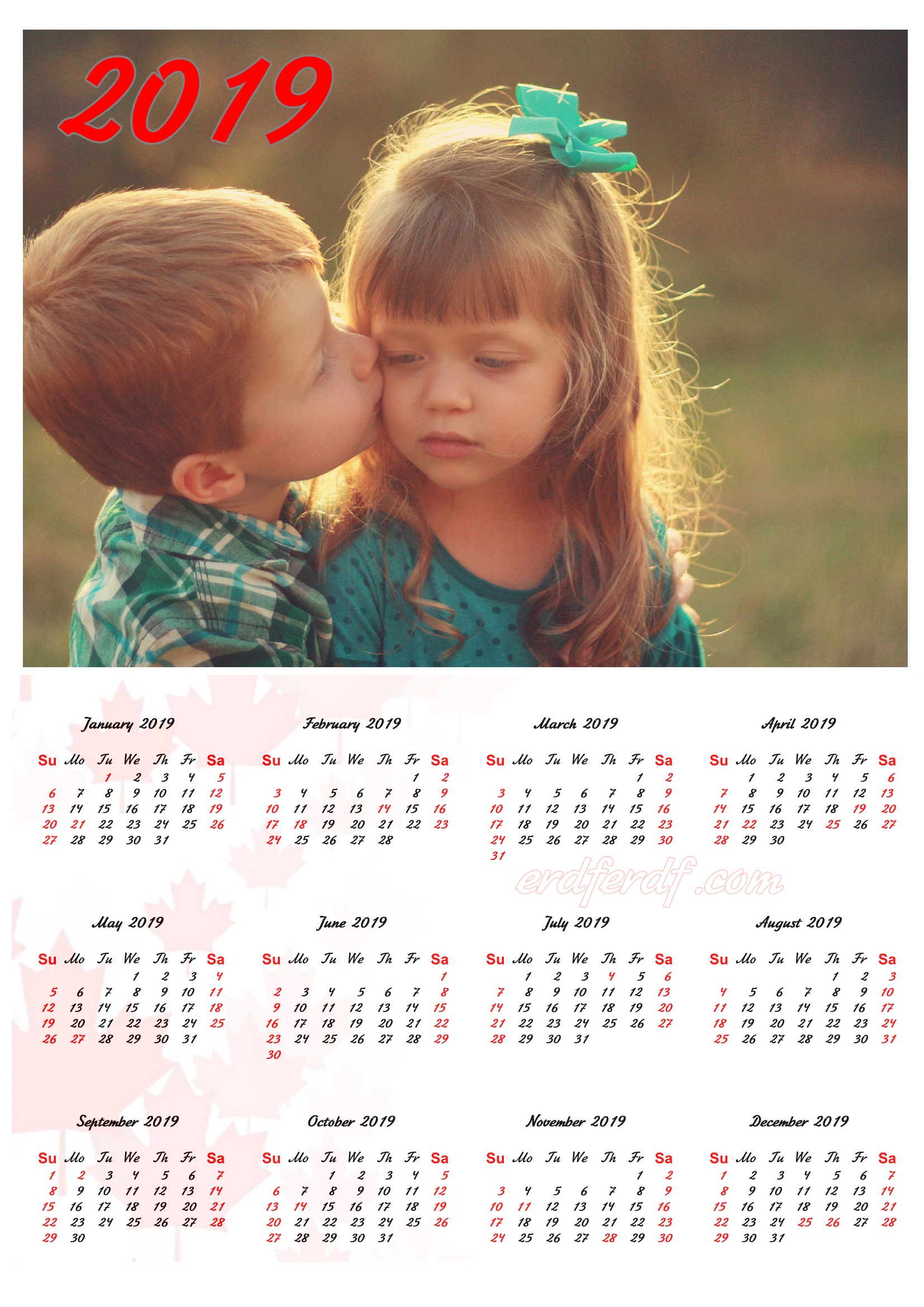Kissing Child Canada 2019 Calendar Printable Free Download