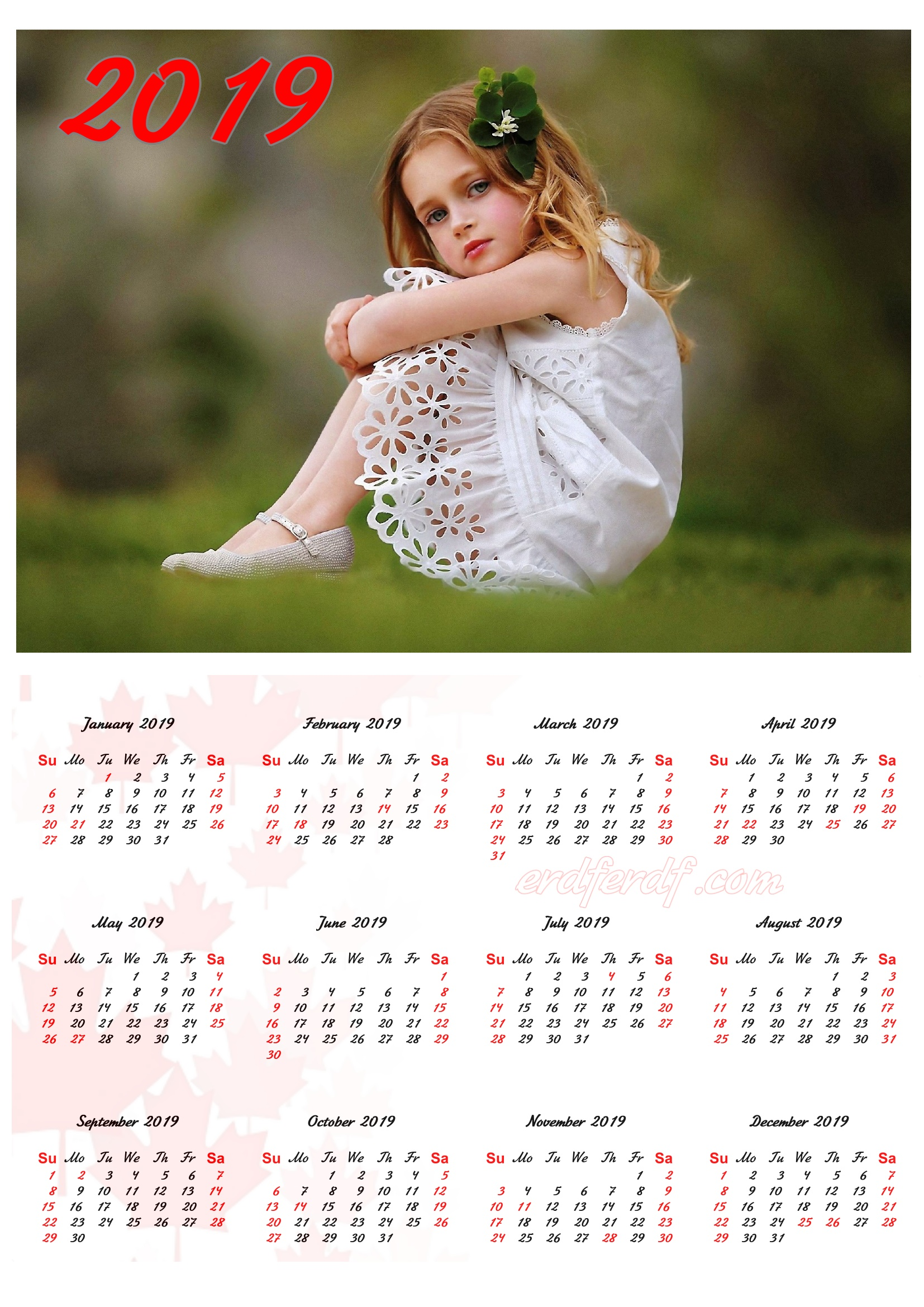 My Girl Cute Canada 2019 Calendar Printable Free Download